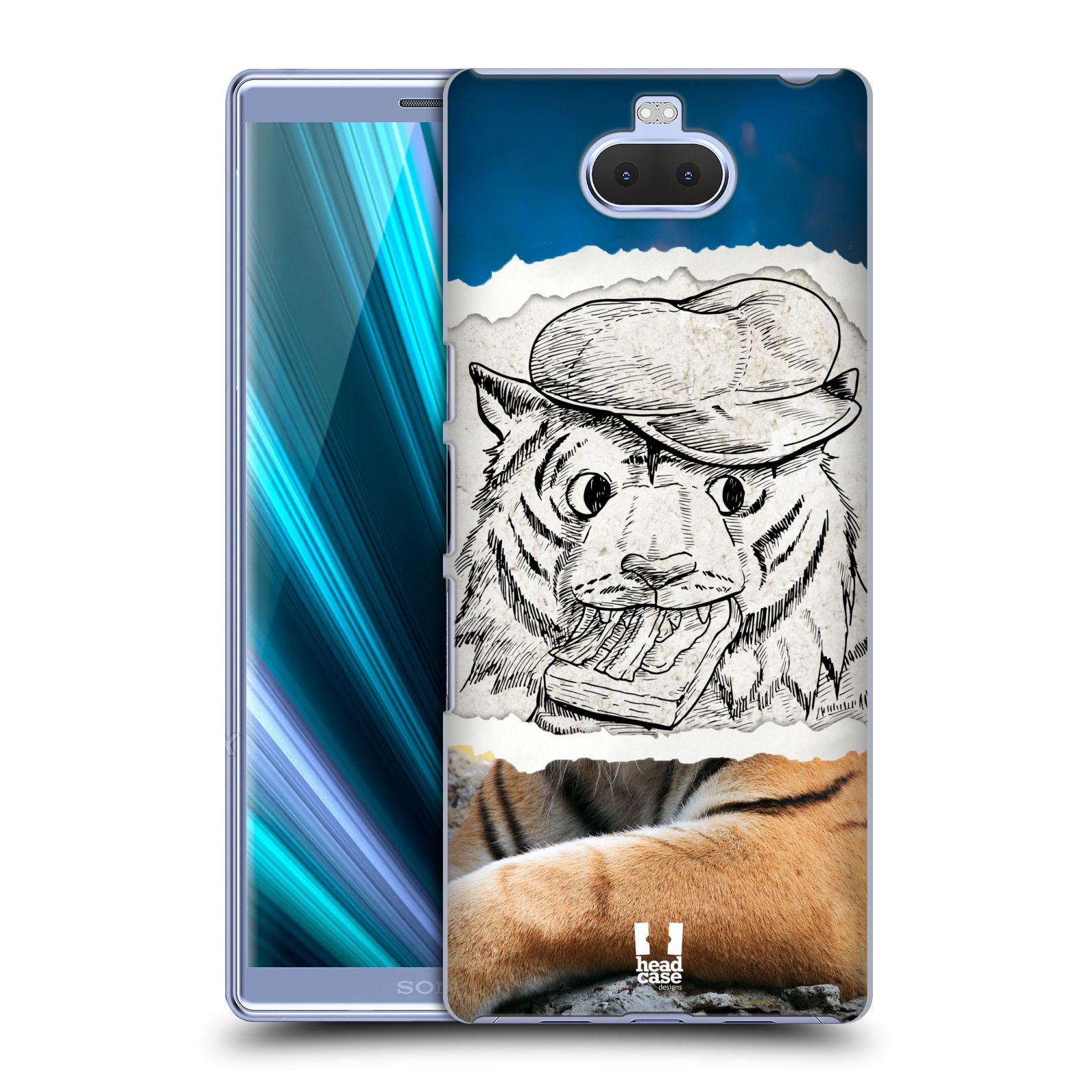 Pouzdro na mobil Sony Xperia 10 - Head Case - vzor zvířata koláž tygr fešák
