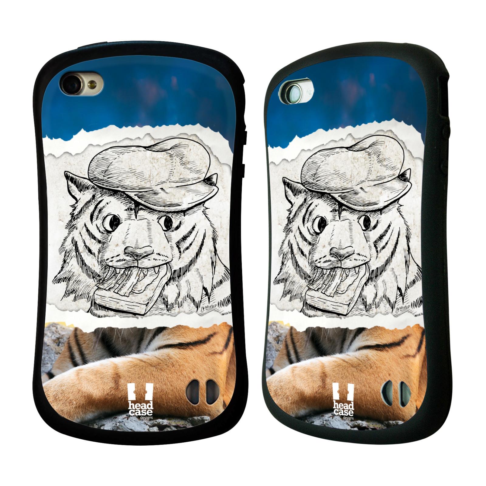 HEAD CASE silikon/plast odolný obal na mobil Apple Iphone 4/4S vzor zvířata koláž tygr fešák