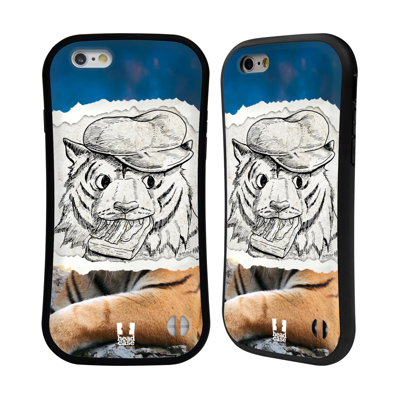 HEAD CASE silikon/plast odolný obal na mobil Apple Iphone 6/6S vzor zvířata koláž tygr fešák