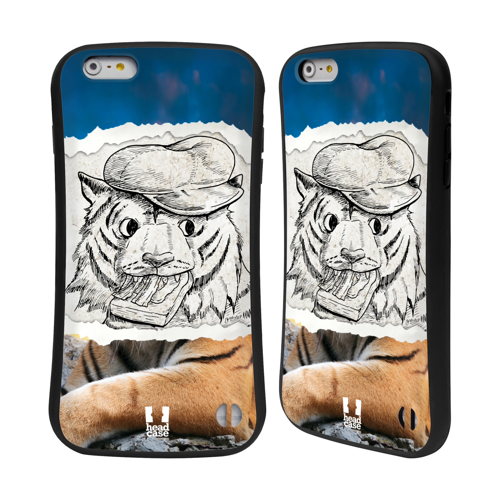 HEAD CASE silikon/plast odolný obal na mobil Apple Iphone 6 PLUS / 6S PLUS vzor zvířata koláž tygr fešák