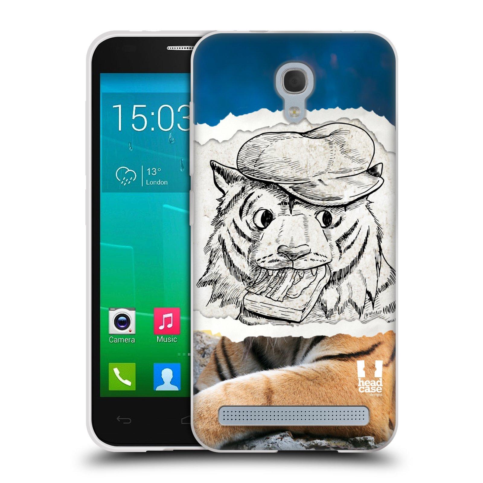 HEAD CASE silikonový obal na mobil Alcatel Idol 2 MINI S 6036Y vzor zvířata koláž tygr fešák