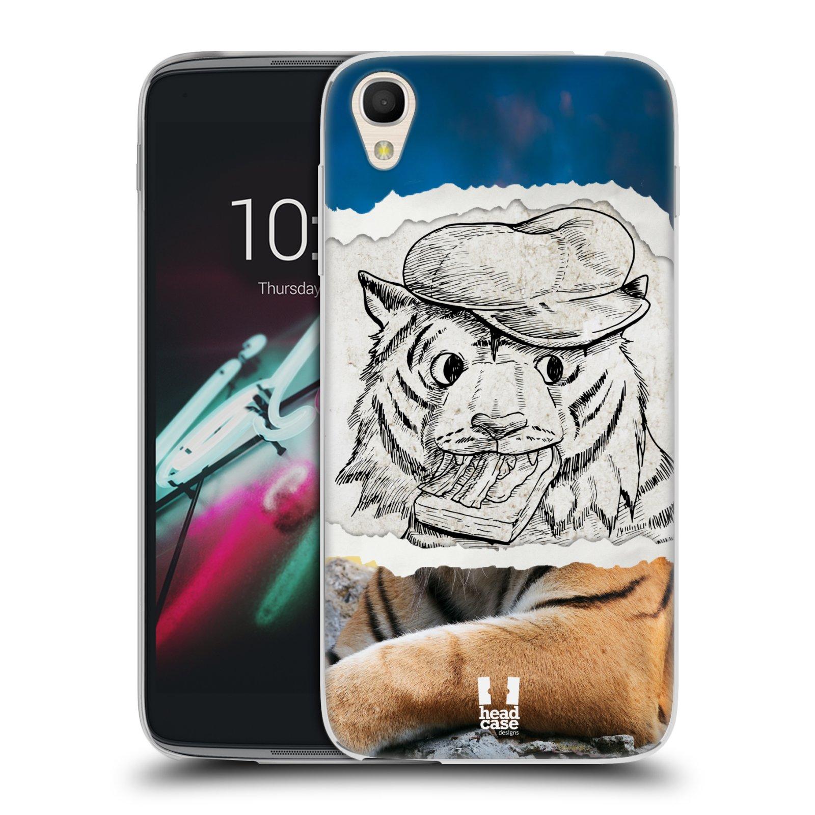 HEAD CASE silikonový obal na mobil Alcatel Idol 3 OT-6039Y (4.7) vzor zvířata koláž tygr fešák