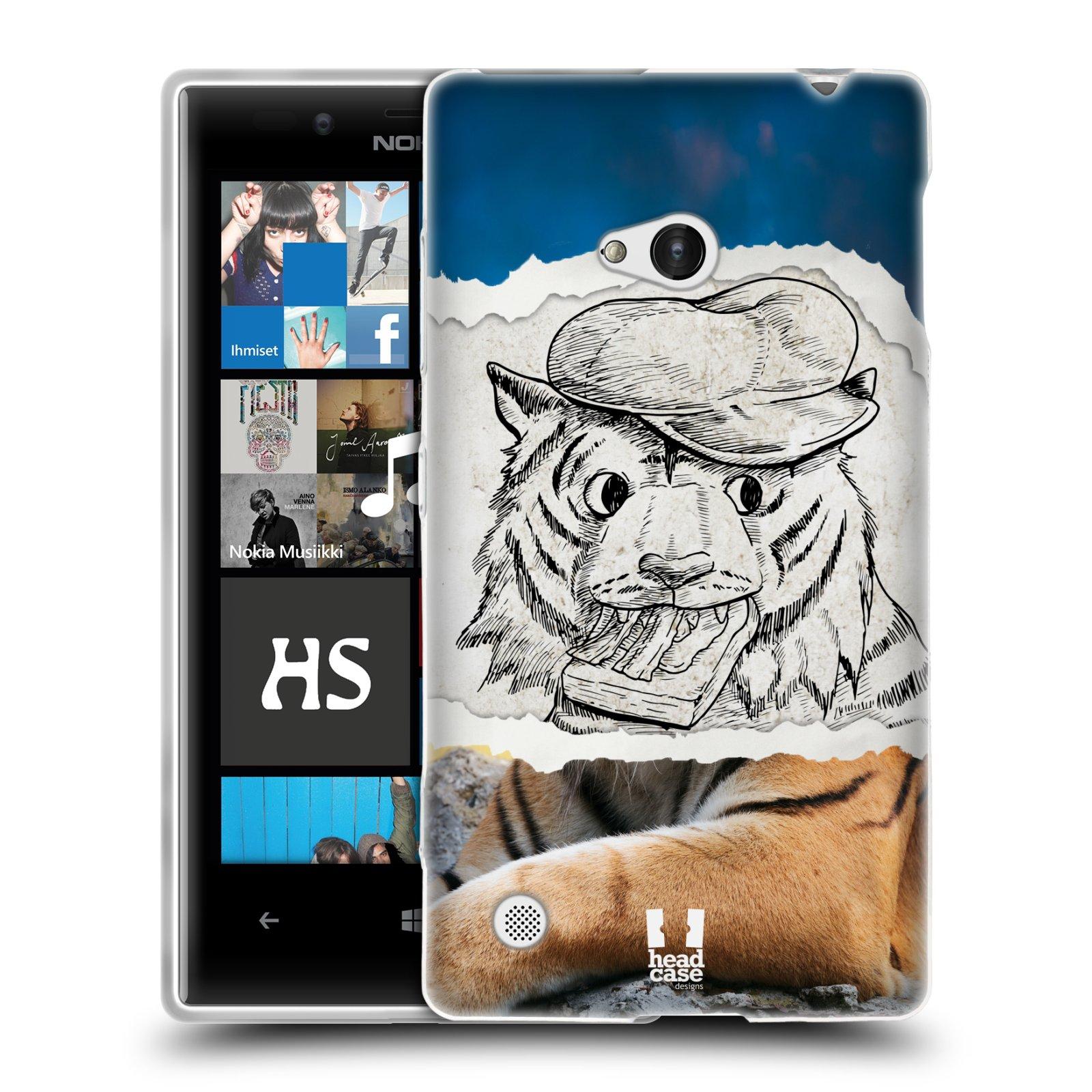HEAD CASE silikonový obal na mobil NOKIA Lumia 720 vzor zvířata koláž tygr fešák
