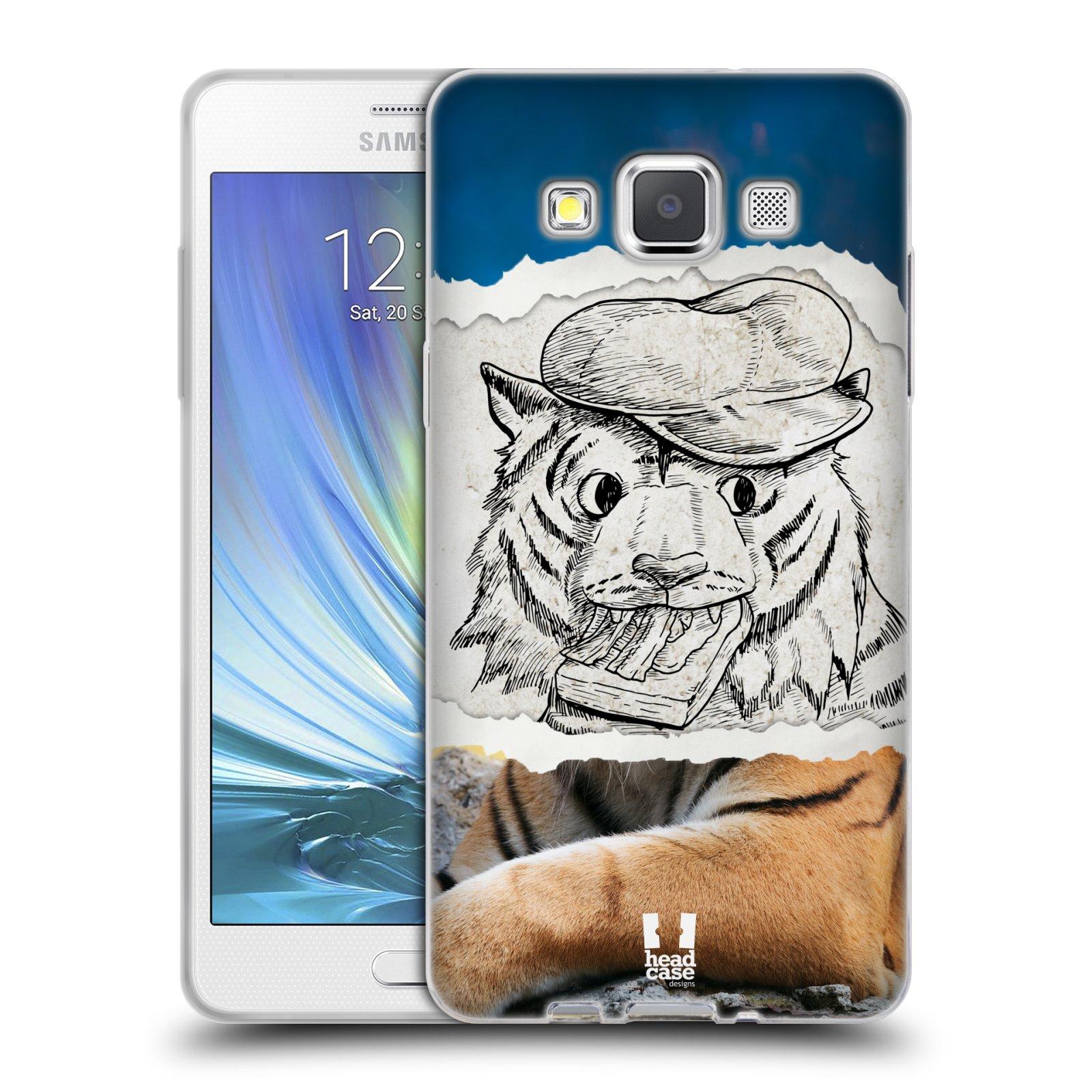 HEAD CASE silikonový obal na mobil Samsung Galaxy A5 vzor zvířata koláž tygr fešák