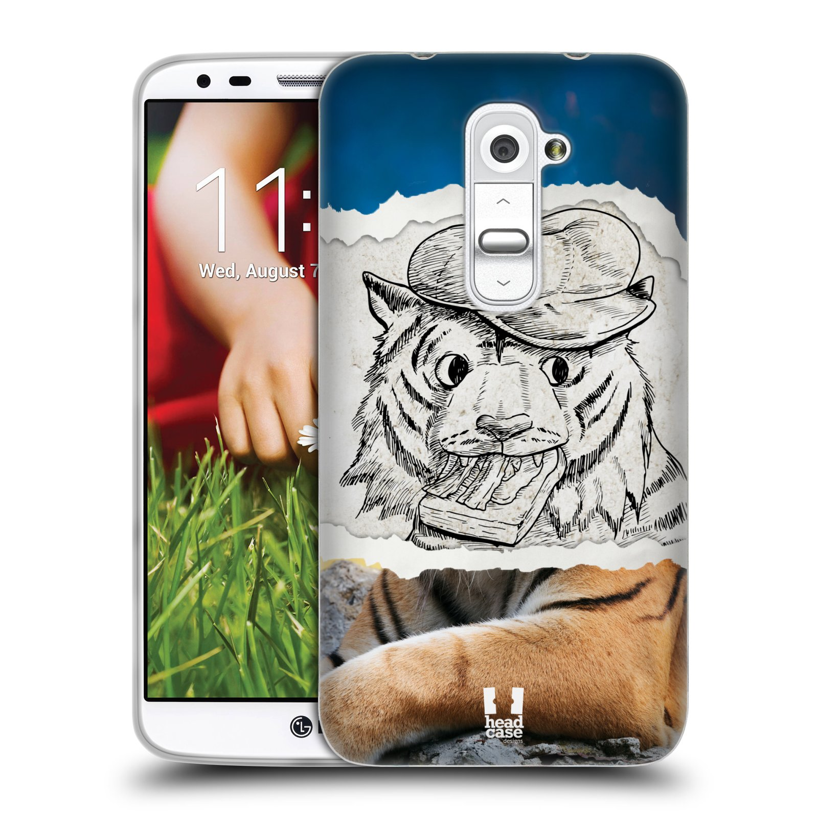 HEAD CASE silikonový obal na mobil LG G2 vzor zvířata koláž tygr fešák