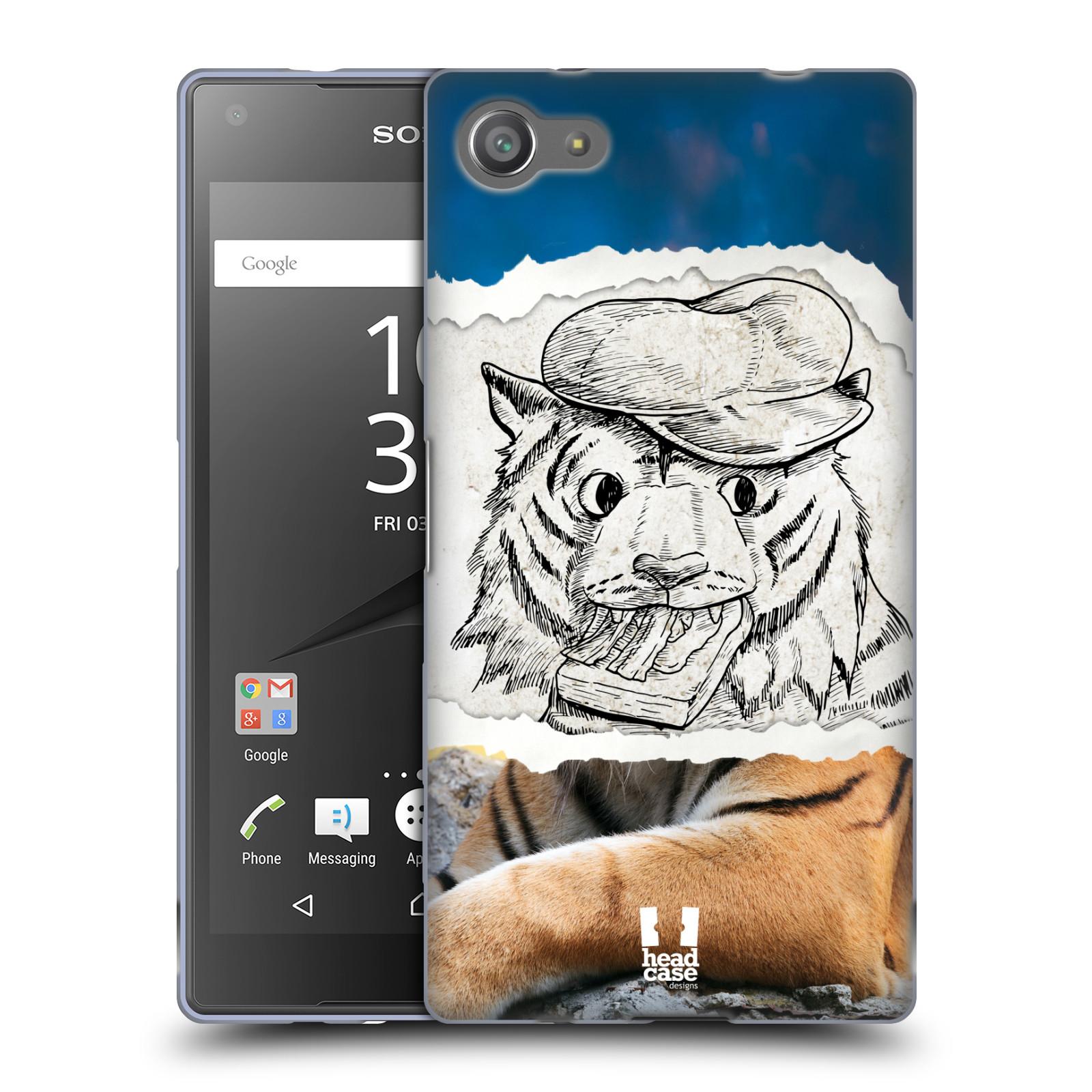 HEAD CASE silikonový obal na mobil Sony Xperia Z5 COMPACT vzor zvířata koláž tygr fešák