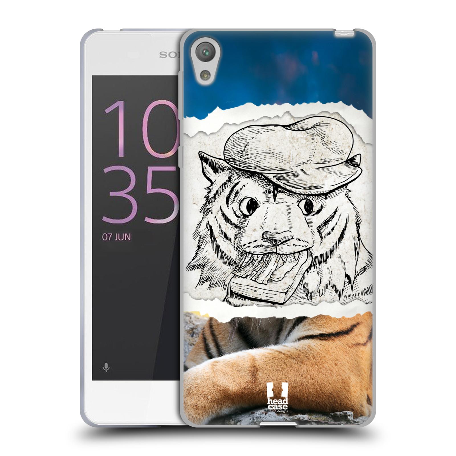 HEAD CASE silikonový obal na mobil SONY XPERIA E5 vzor zvířata koláž tygr fešák
