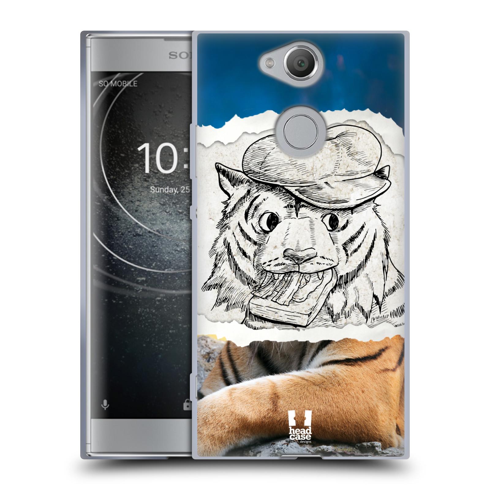 Pouzdro na mobil Sony Xperia XA2 (DUAL SIM, SINGLE SIM) vzor zvířata koláž tygr fešák