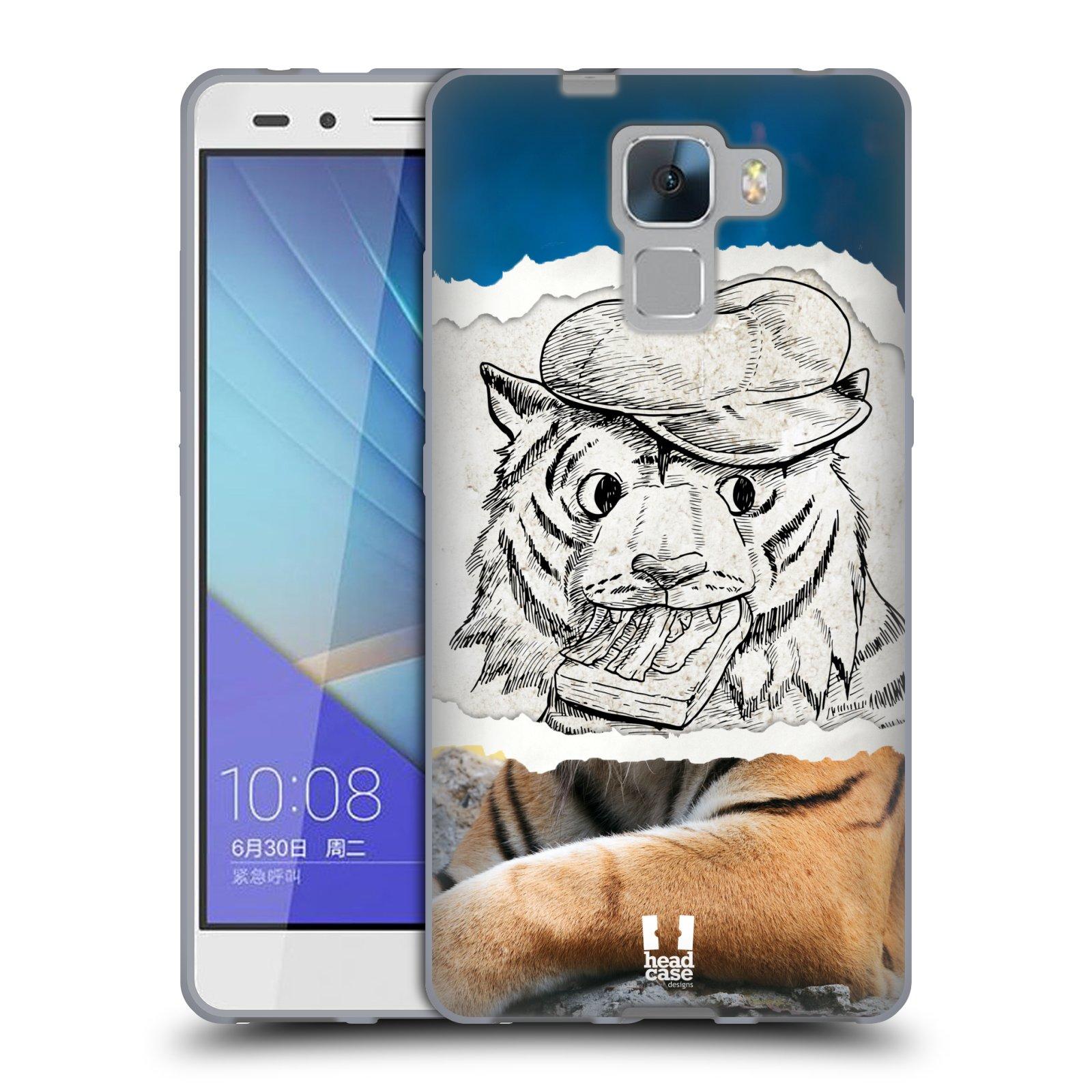 HEAD CASE silikonový obal na mobil HUAWEI HONOR 7 vzor zvířata koláž tygr fešák