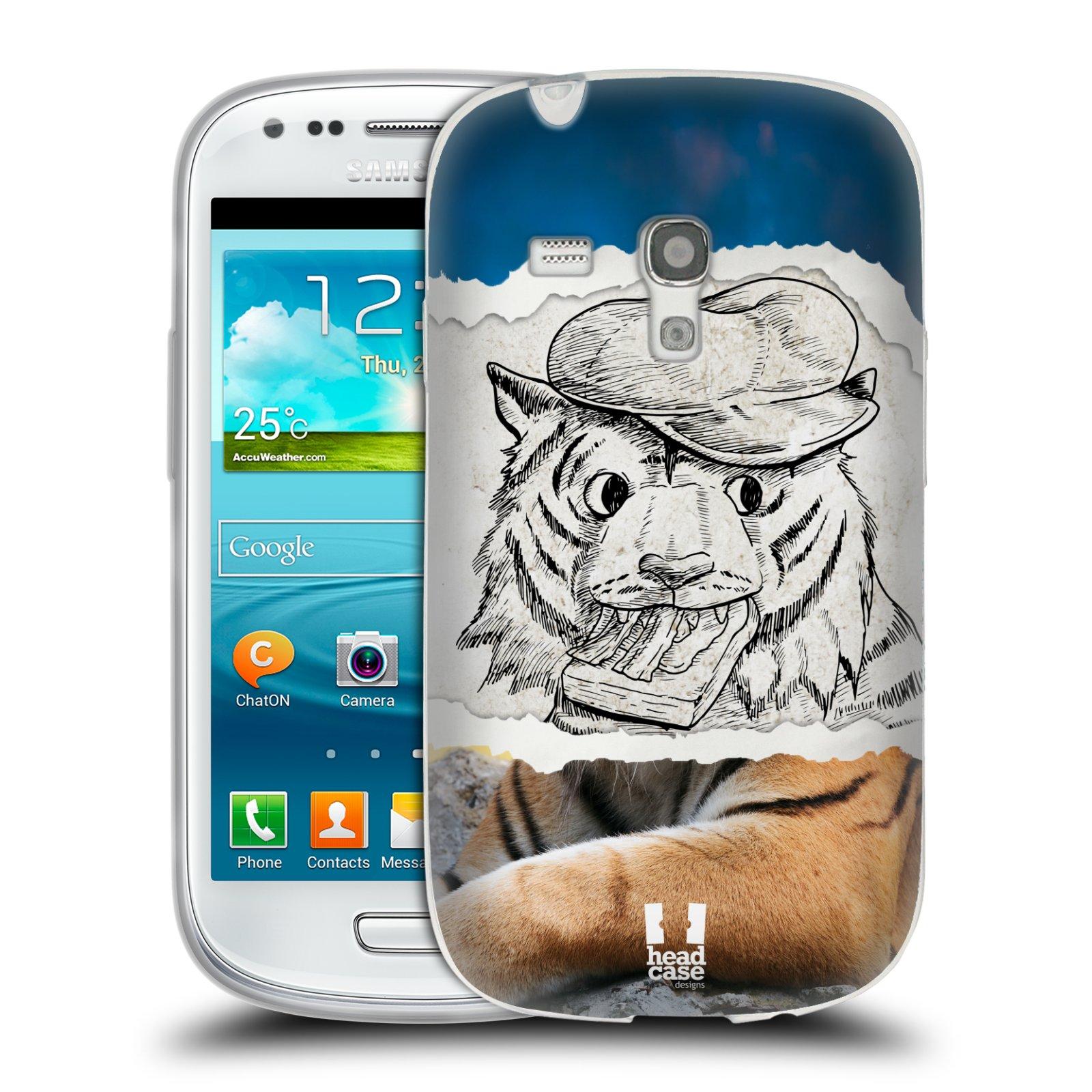 HEAD CASE silikonový obal na mobil Samsung Galaxy S3 MINI i8190 vzor zvířata koláž tygr fešák