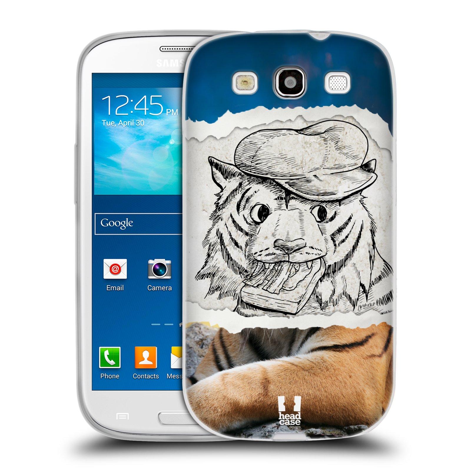 HEAD CASE silikonový obal na mobil Samsung Galaxy S3 i9300 vzor zvířata koláž tygr fešák