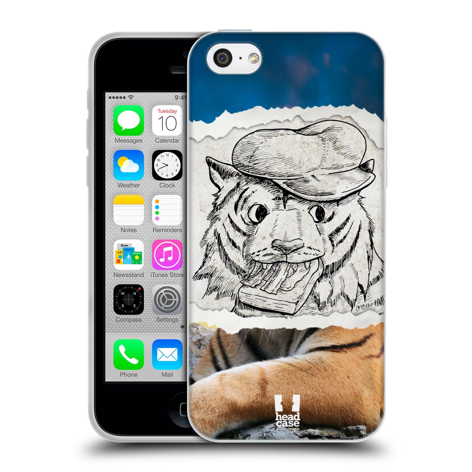 HEAD CASE silikonový obal na mobil Apple Iphone 5C vzor zvířata koláž tygr fešák