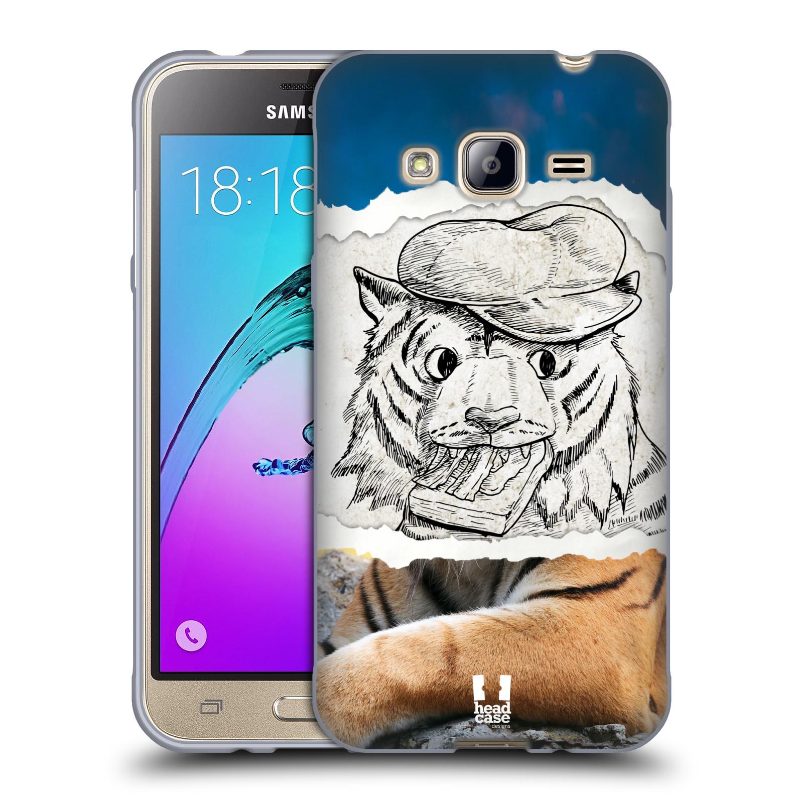 HEAD CASE silikonový obal na mobil Samsung Galaxy J3, J3 2016 vzor zvířata koláž tygr fešák