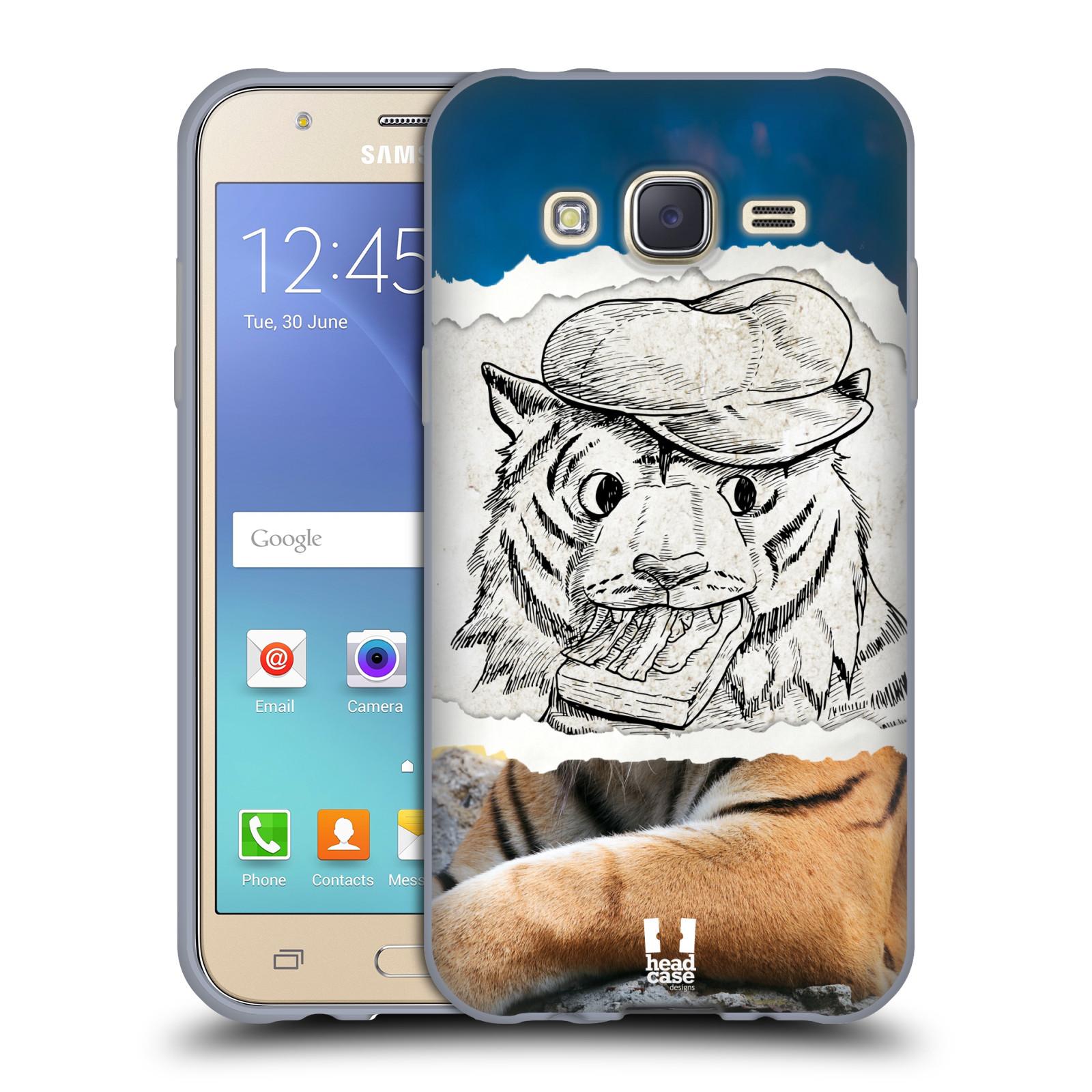 HEAD CASE silikonový obal na mobil Samsung Galaxy J5, J500, (J5 DUOS) vzor zvířata koláž tygr fešák