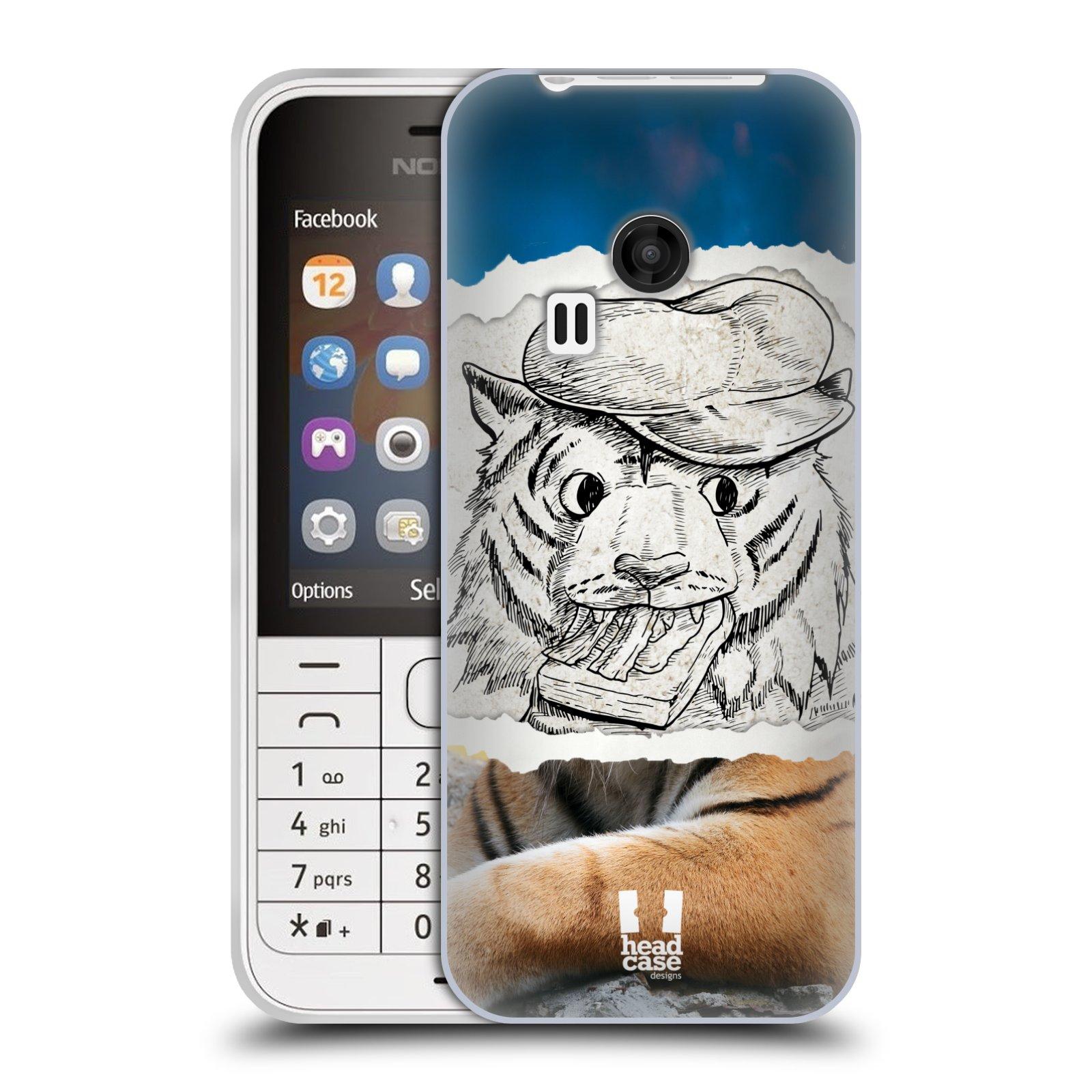 HEAD CASE silikonový obal na mobil NOKIA 220 / NOKIA 220 DUAL SIM vzor zvířata koláž tygr fešák