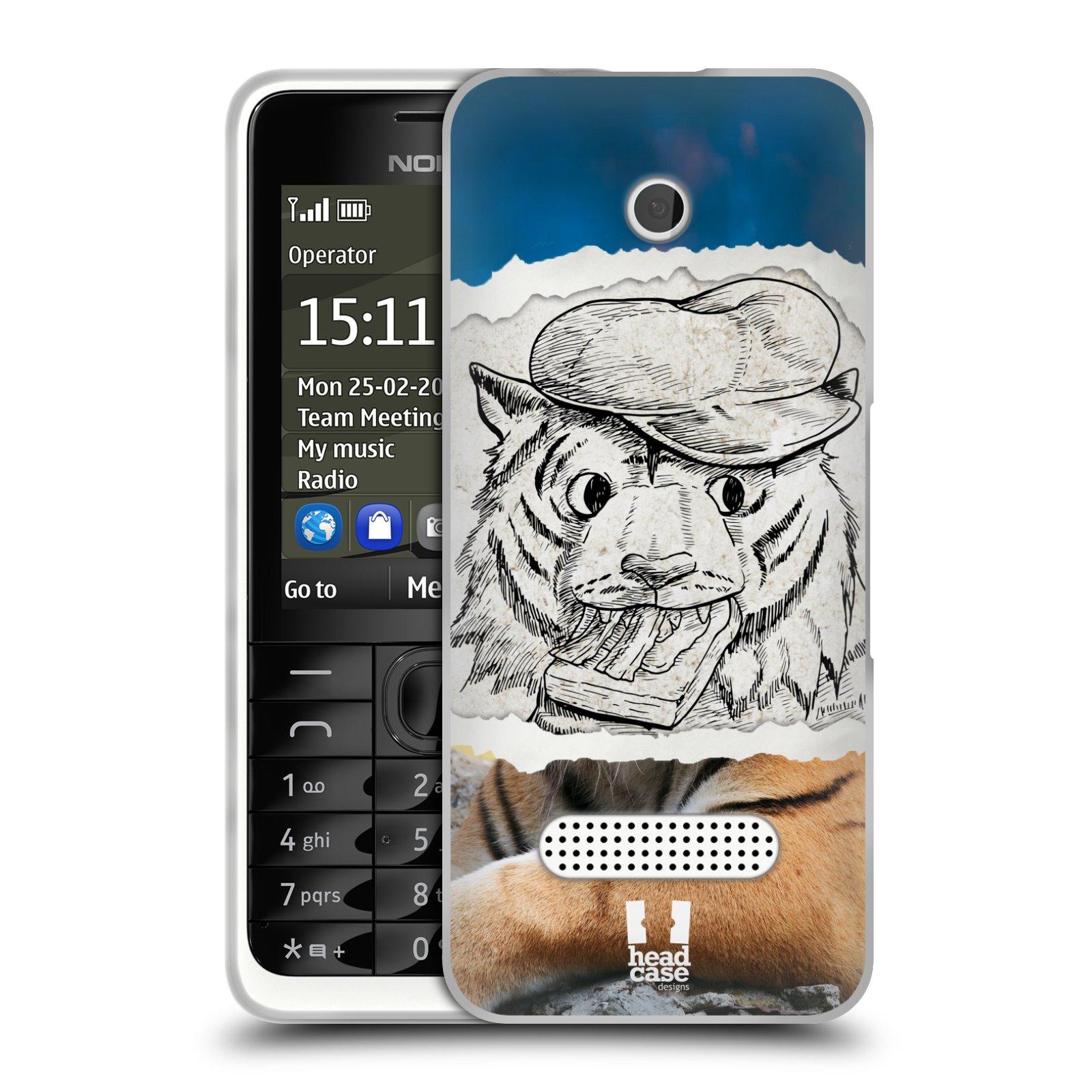 HEAD CASE silikonový obal na mobil NOKIA 301 vzor zvířata koláž tygr fešák