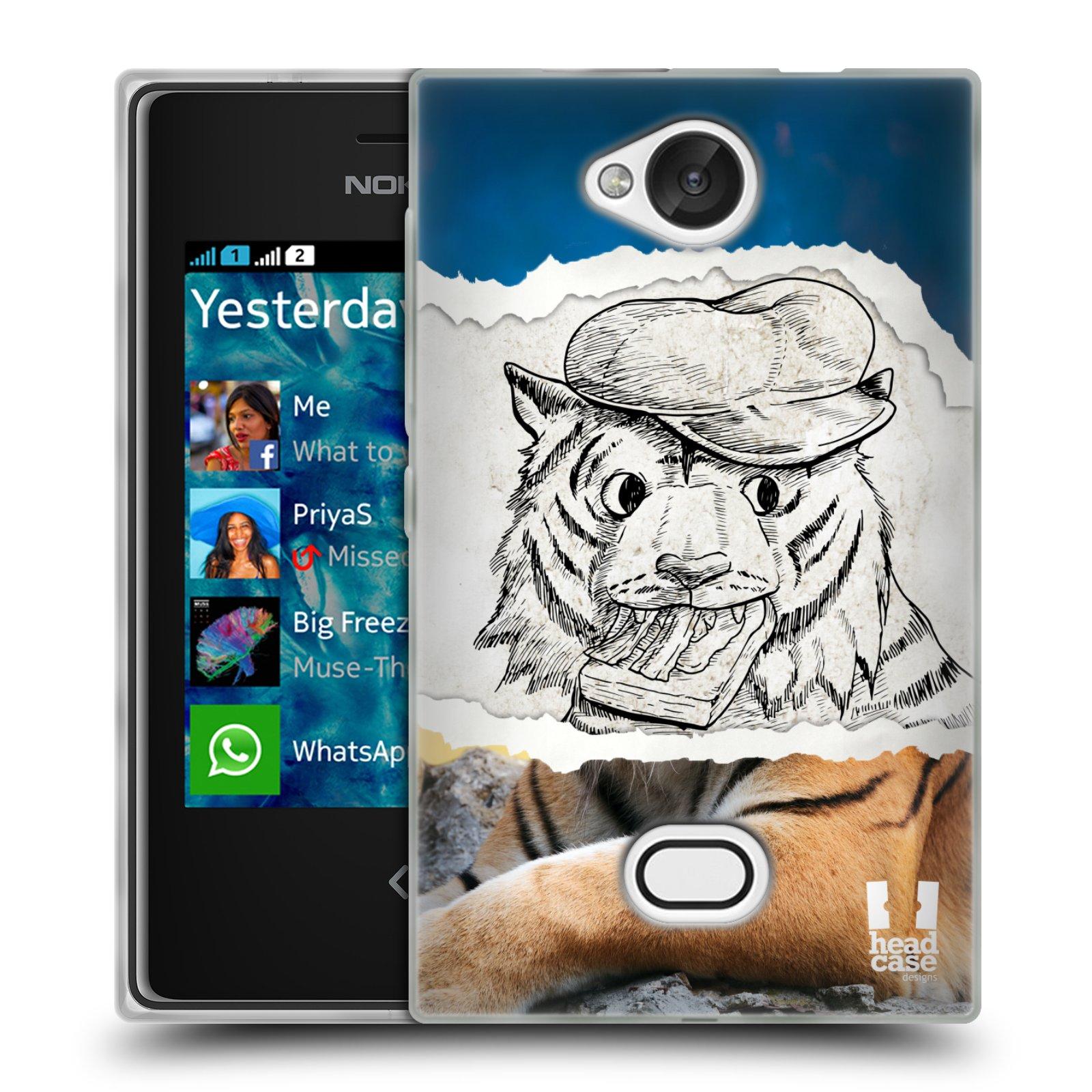 HEAD CASE silikonový obal na mobil NOKIA Asha 503 vzor zvířata koláž tygr fešák