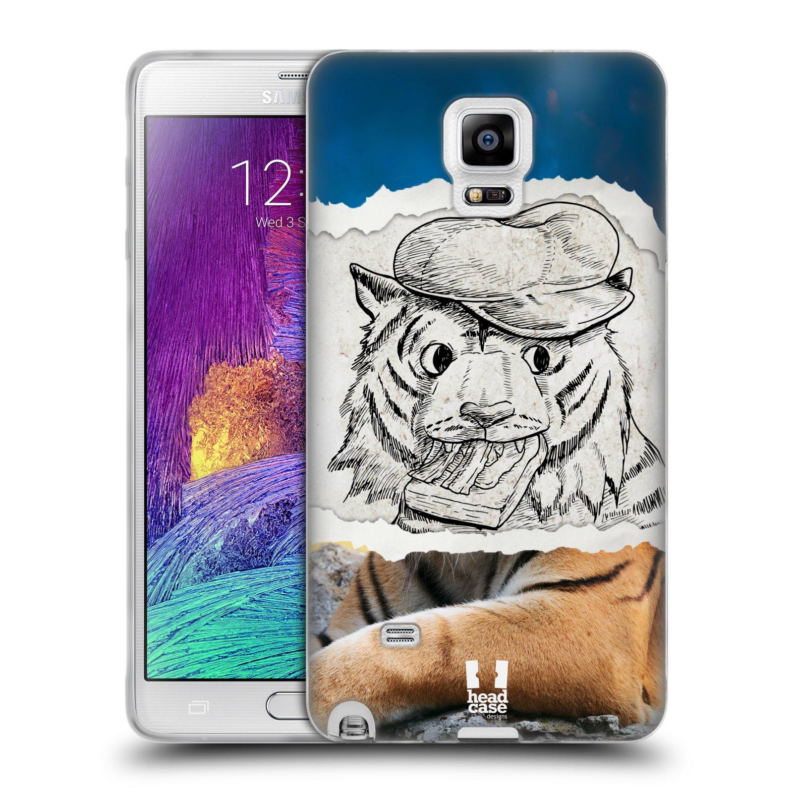 HEAD CASE silikonový obal na mobil Samsung Galaxy Note 4 (N910) vzor zvířata koláž tygr fešák
