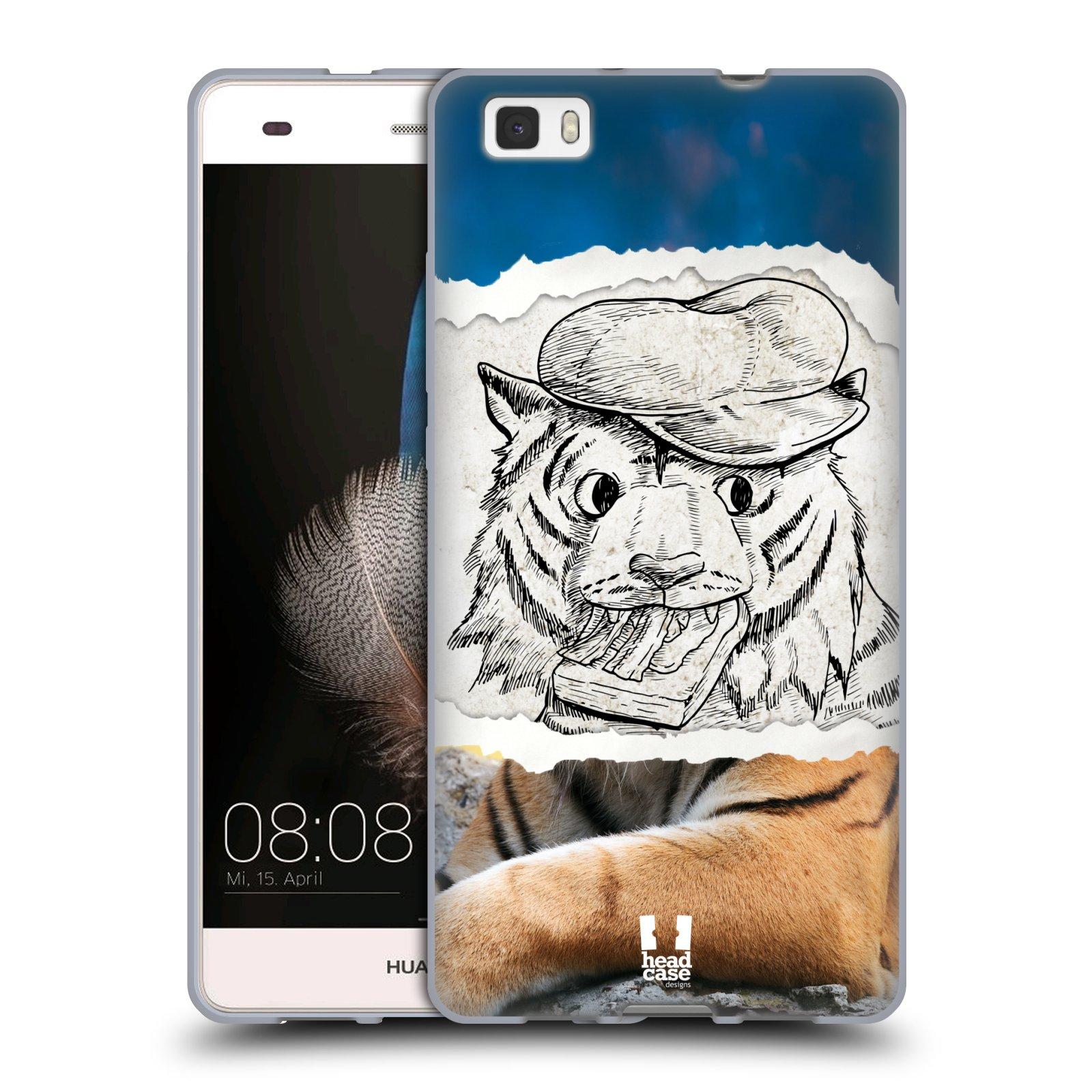 HEAD CASE silikonový obal na mobil HUAWEI P8 LITE vzor zvířata koláž tygr fešák