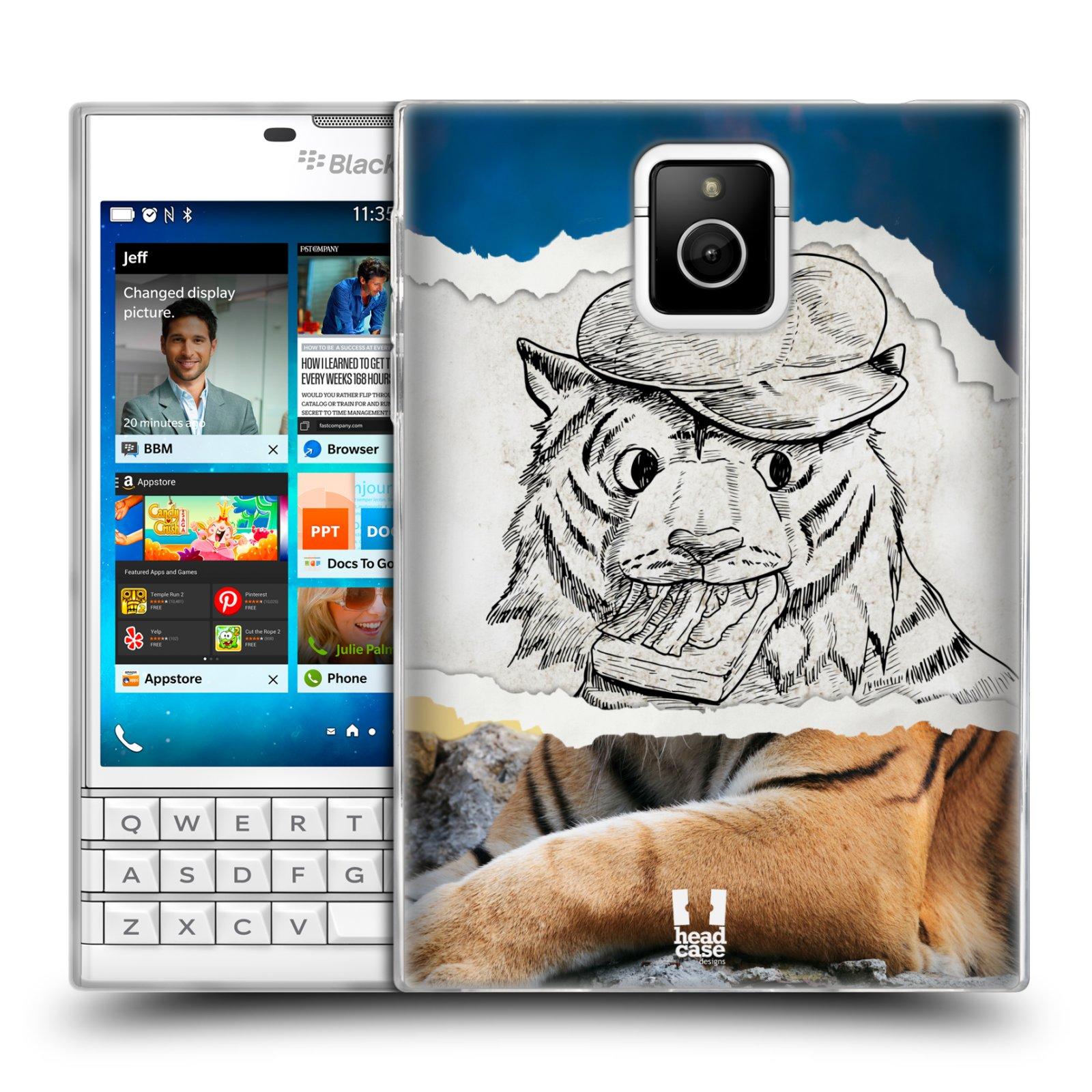 HEAD CASE silikonový obal na mobil Blackberry PASSPORT vzor zvířata koláž tygr fešák