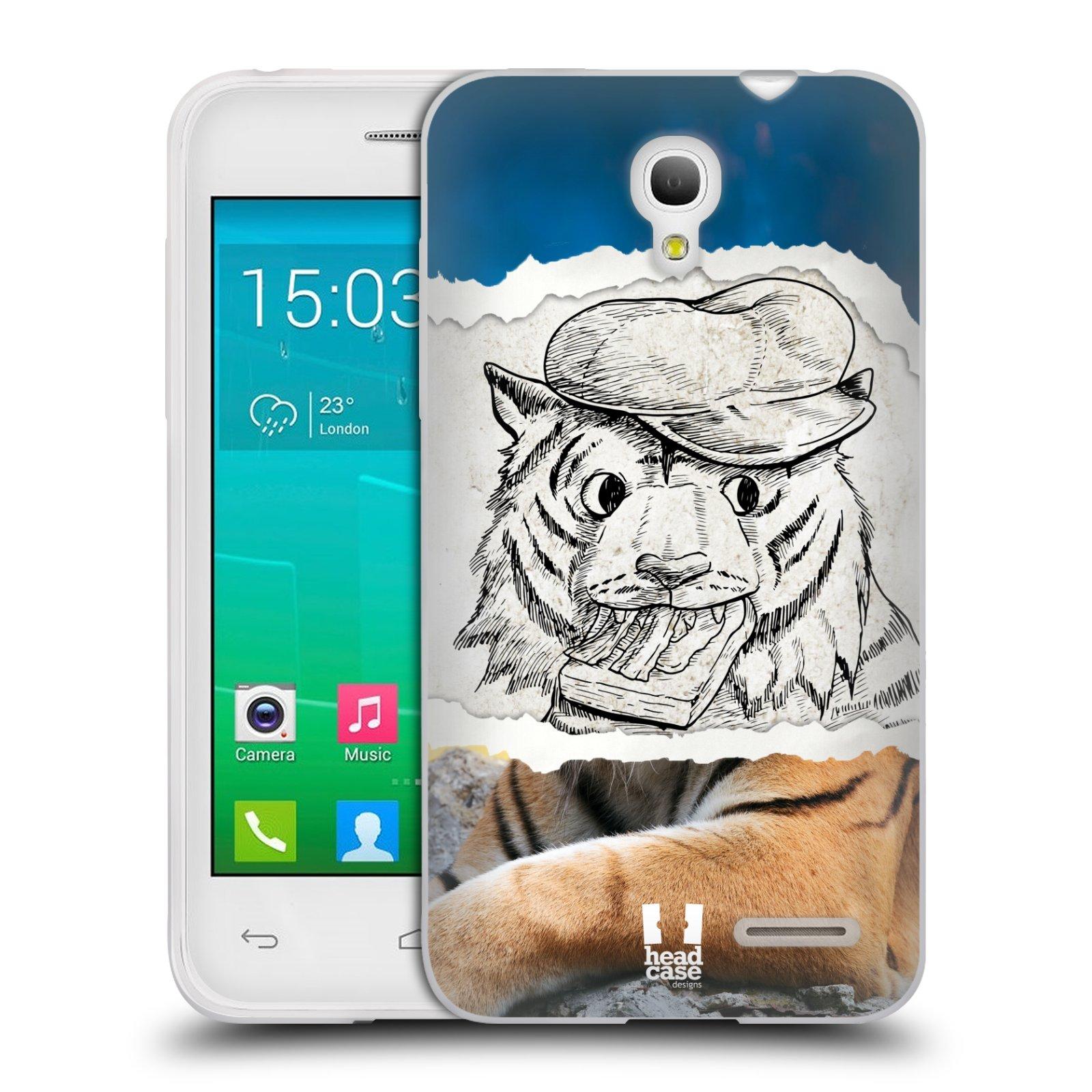 HEAD CASE silikonový obal na mobil Alcatel POP S3 OT-5050Y vzor zvířata koláž tygr fešák