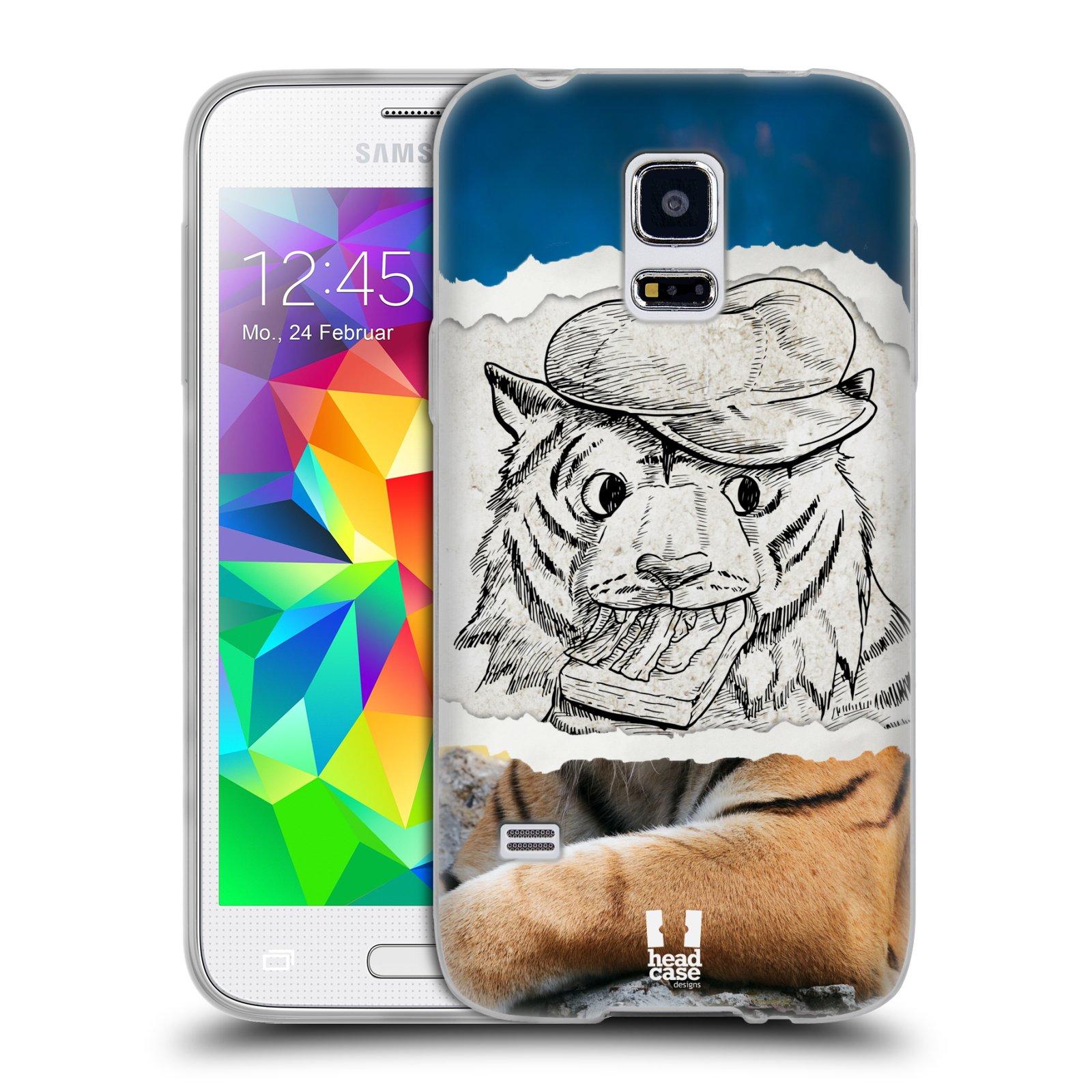 HEAD CASE silikonový obal na mobil Samsung Galaxy S5 MINI vzor zvířata koláž tygr fešák