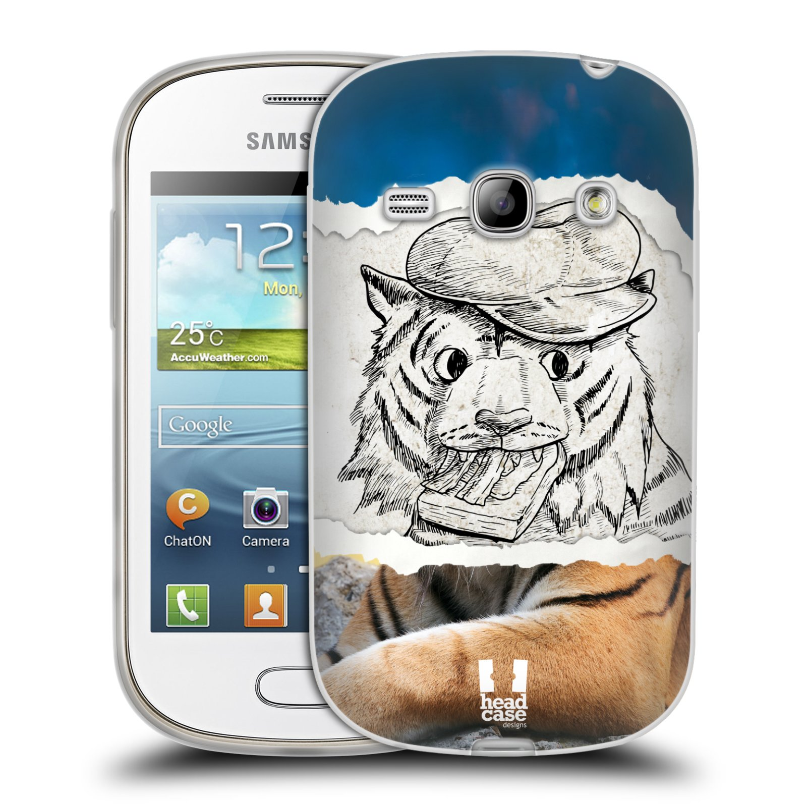 HEAD CASE silikonový obal na mobil Samsung Galaxy FAME vzor zvířata koláž tygr fešák