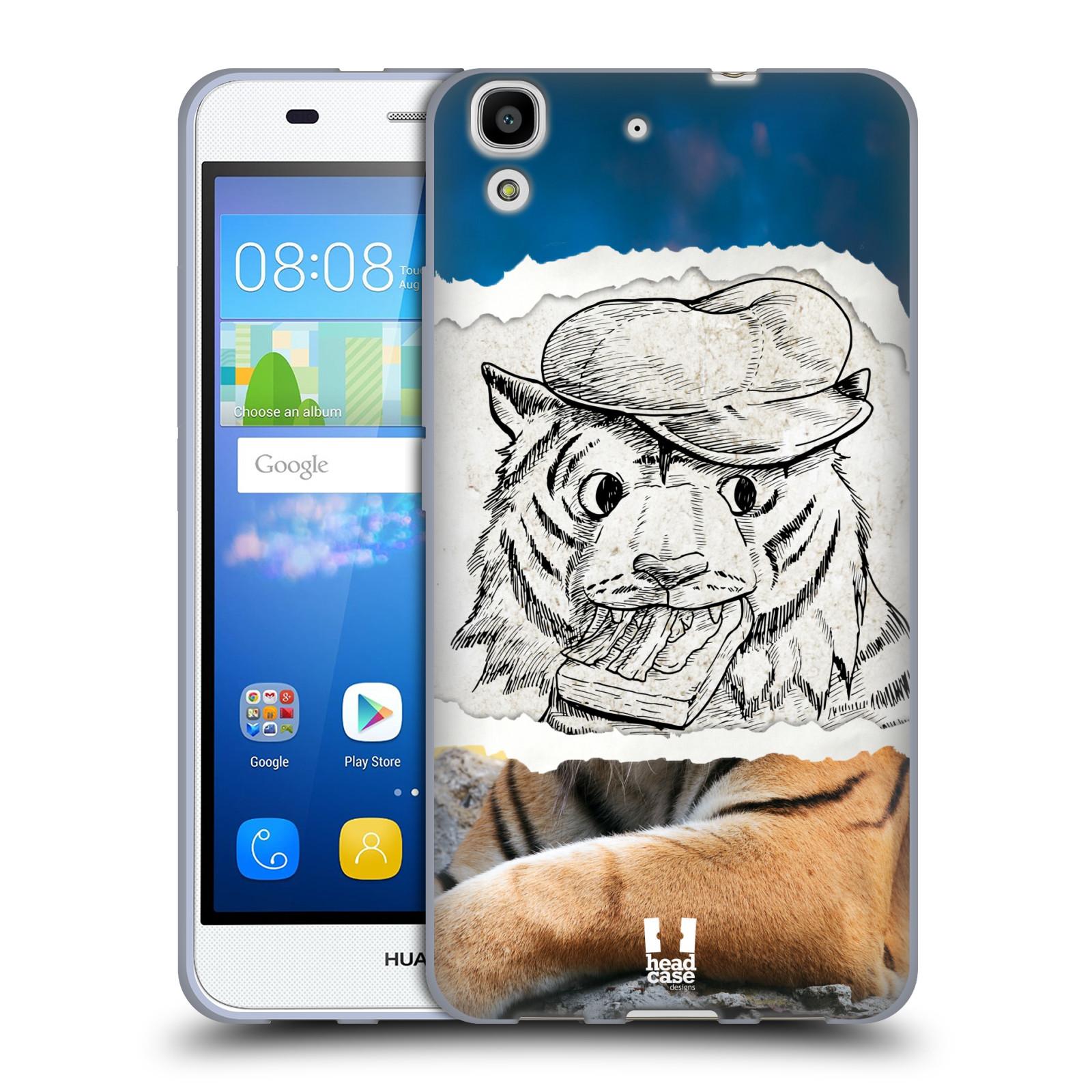 HEAD CASE silikonový obal na mobil HUAWEI Y6 vzor zvířata koláž tygr fešák