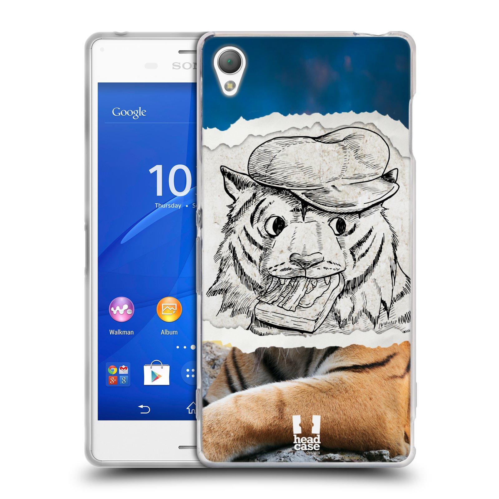 HEAD CASE silikonový obal na mobil Sony Xperia Z3 vzor zvířata koláž tygr fešák