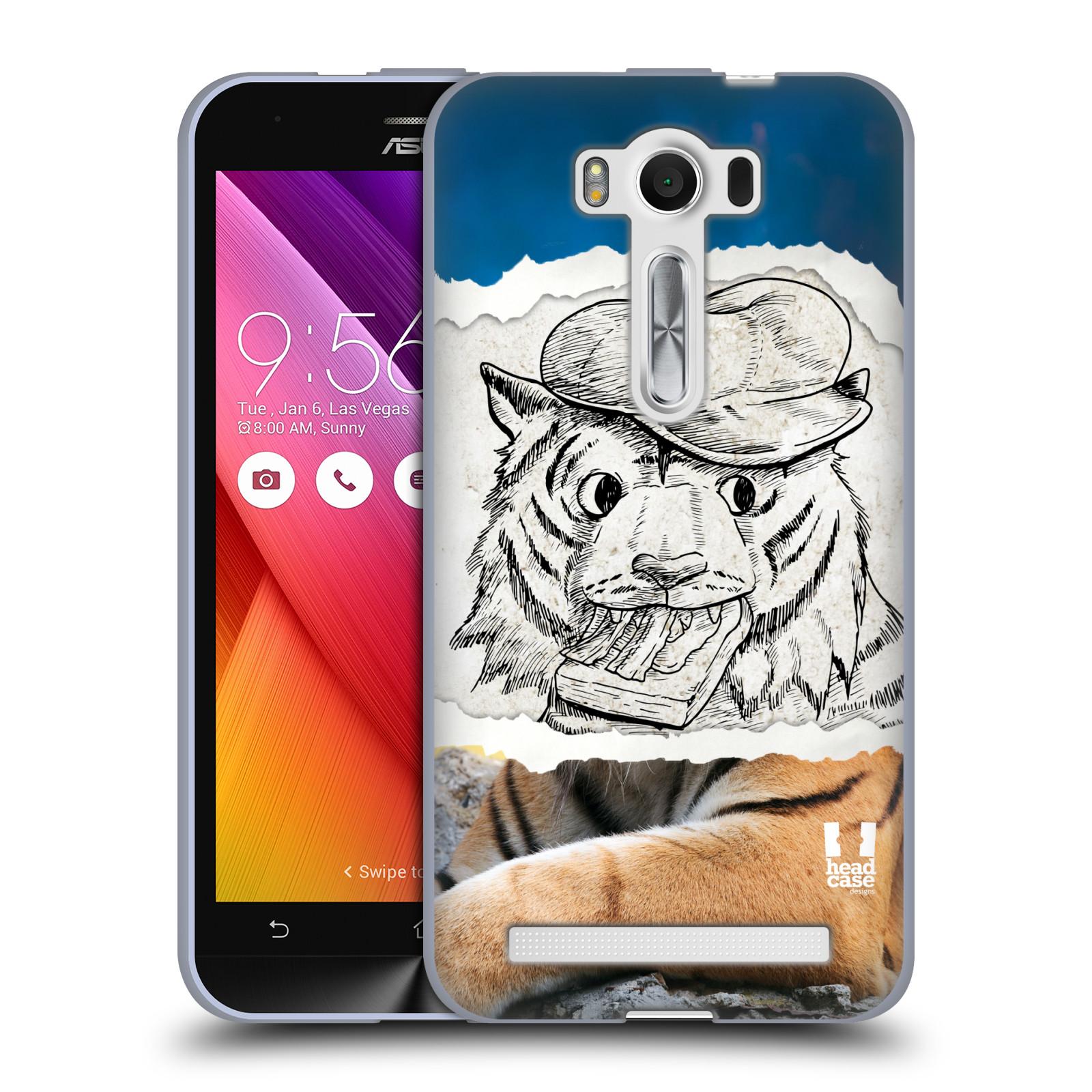 "HEAD CASE silikonový obal na mobil Asus Zenfone 2 LASER (ZE500KL s 5"" displejem) vzor zvířata koláž tygr fešák"