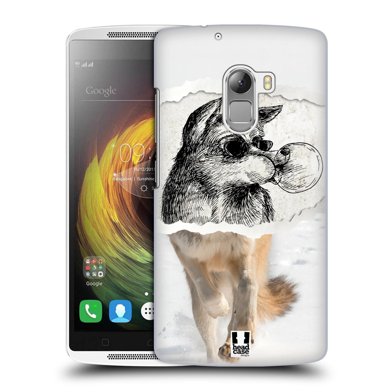 HEAD CASE pevný plastový obal na mobil LENOVO A7010 / A7010 DUAL / K4 Note / Vibe X3 lite vzor zvířata koláž vlk pohodář