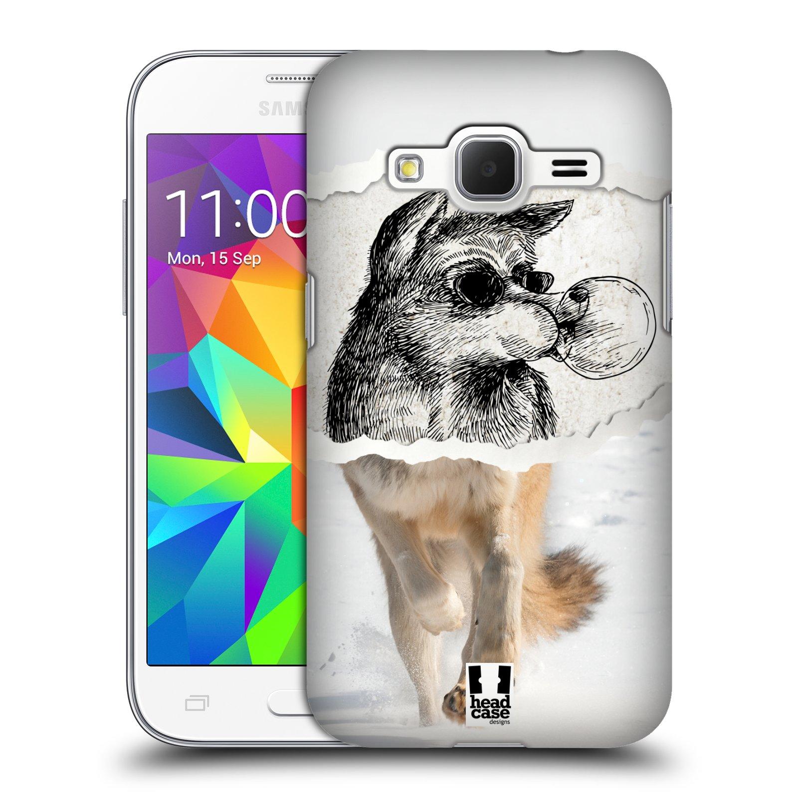 HEAD CASE plastový obal na mobil SAMSUNG GALAXY Core Prime (Core Prime VE) vzor zvířata koláž vlk pohodář