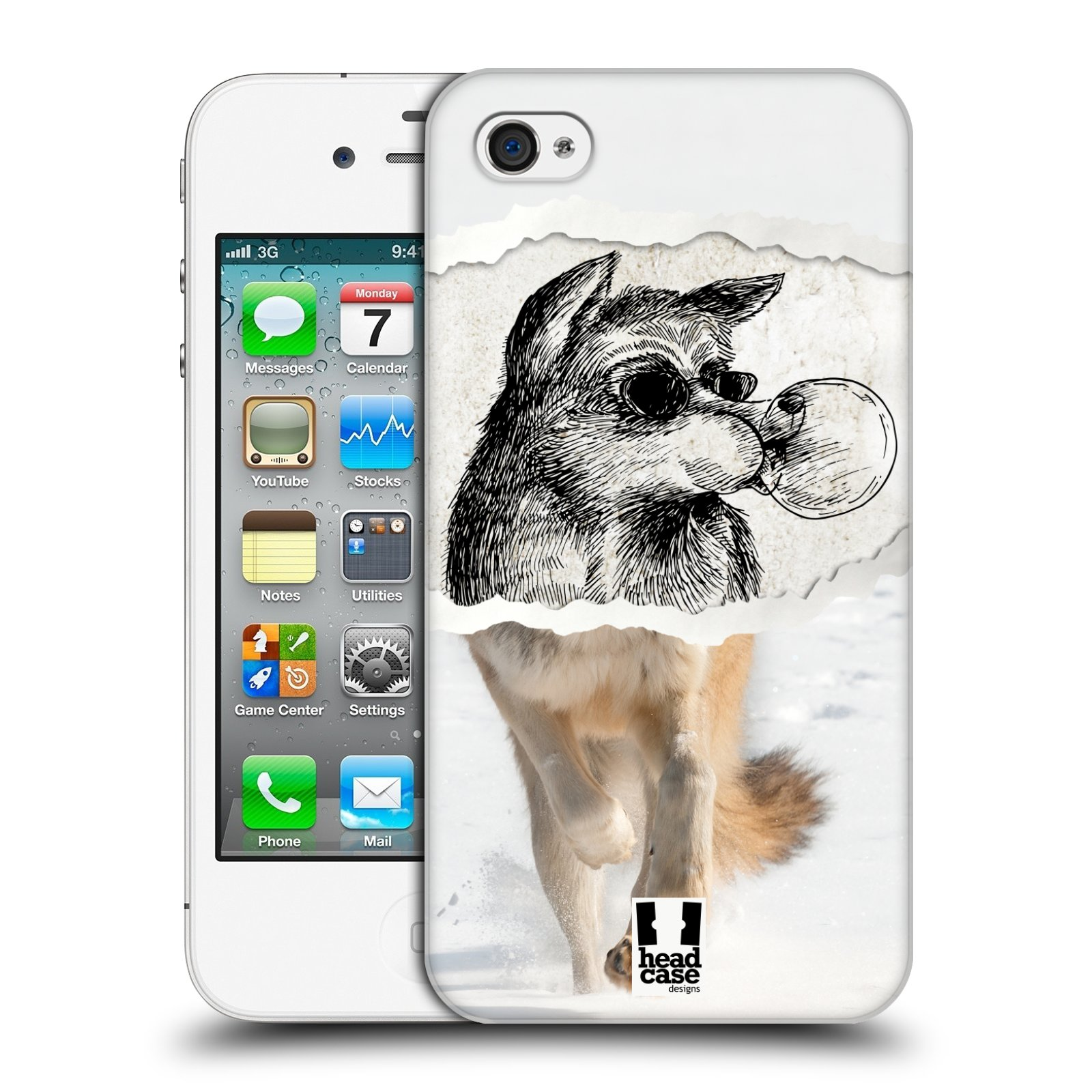 HEAD CASE plastový obal na mobil Apple Iphone 4/4S vzor zvířata koláž vlk pohodář