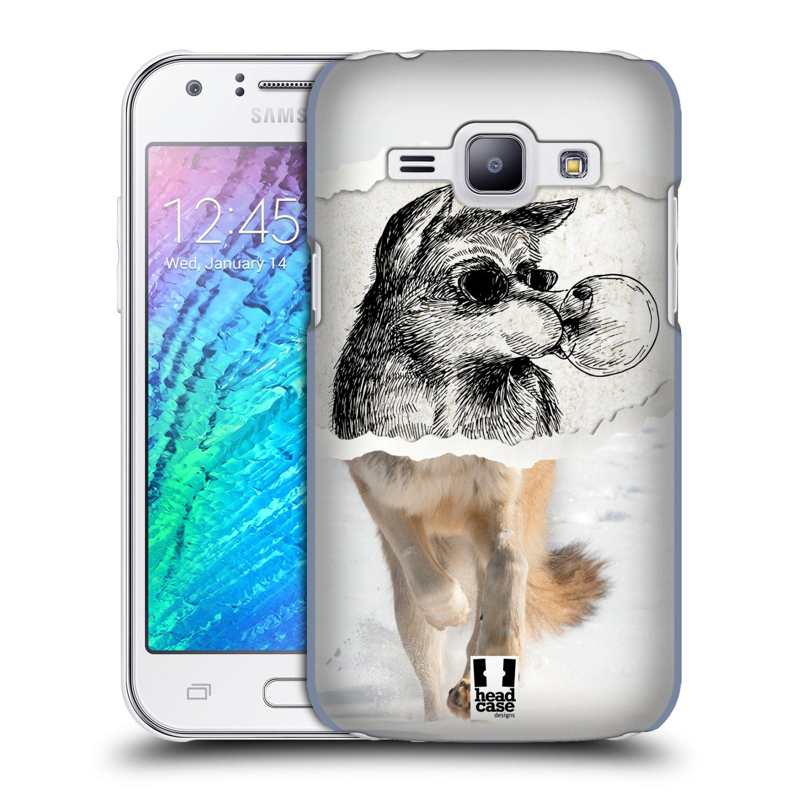 HEAD CASE plastový obal na mobil SAMSUNG Galaxy J1, J100 vzor zvířata koláž vlk pohodář