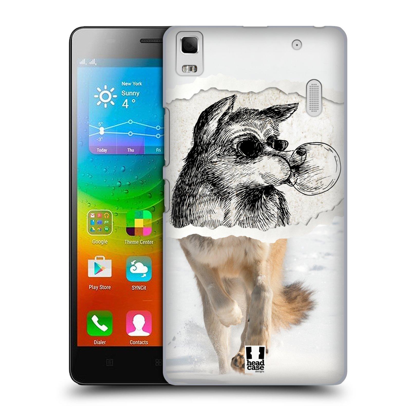 HEAD CASE pevný plastový obal na mobil LENOVO A7000 / A7000 DUAL / K3 NOTE vzor zvířata koláž vlk pohodář
