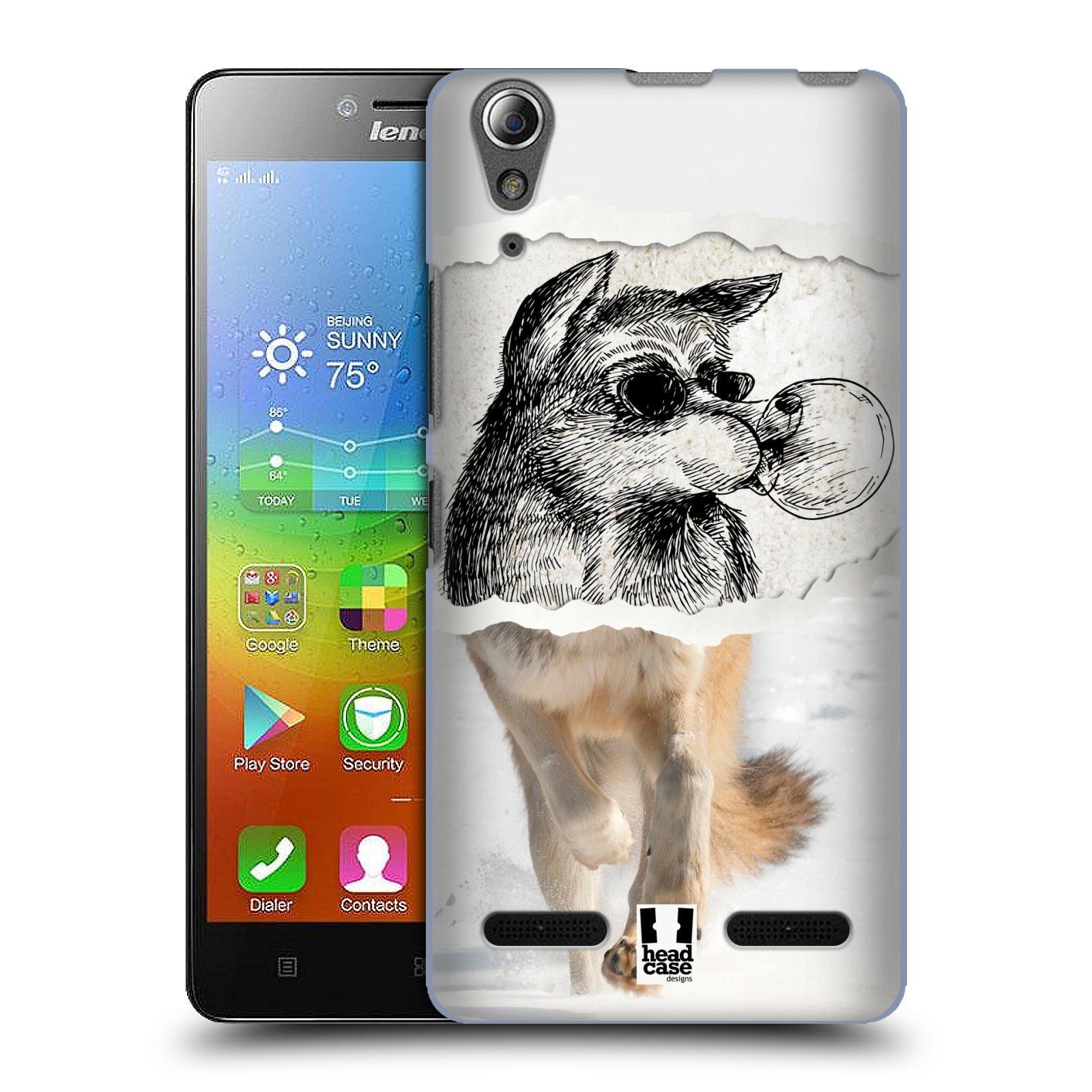 HEAD CASE pevný plastový obal na mobil LENOVO A6000 / A6000 PLUS vzor zvířata koláž vlk pohodář