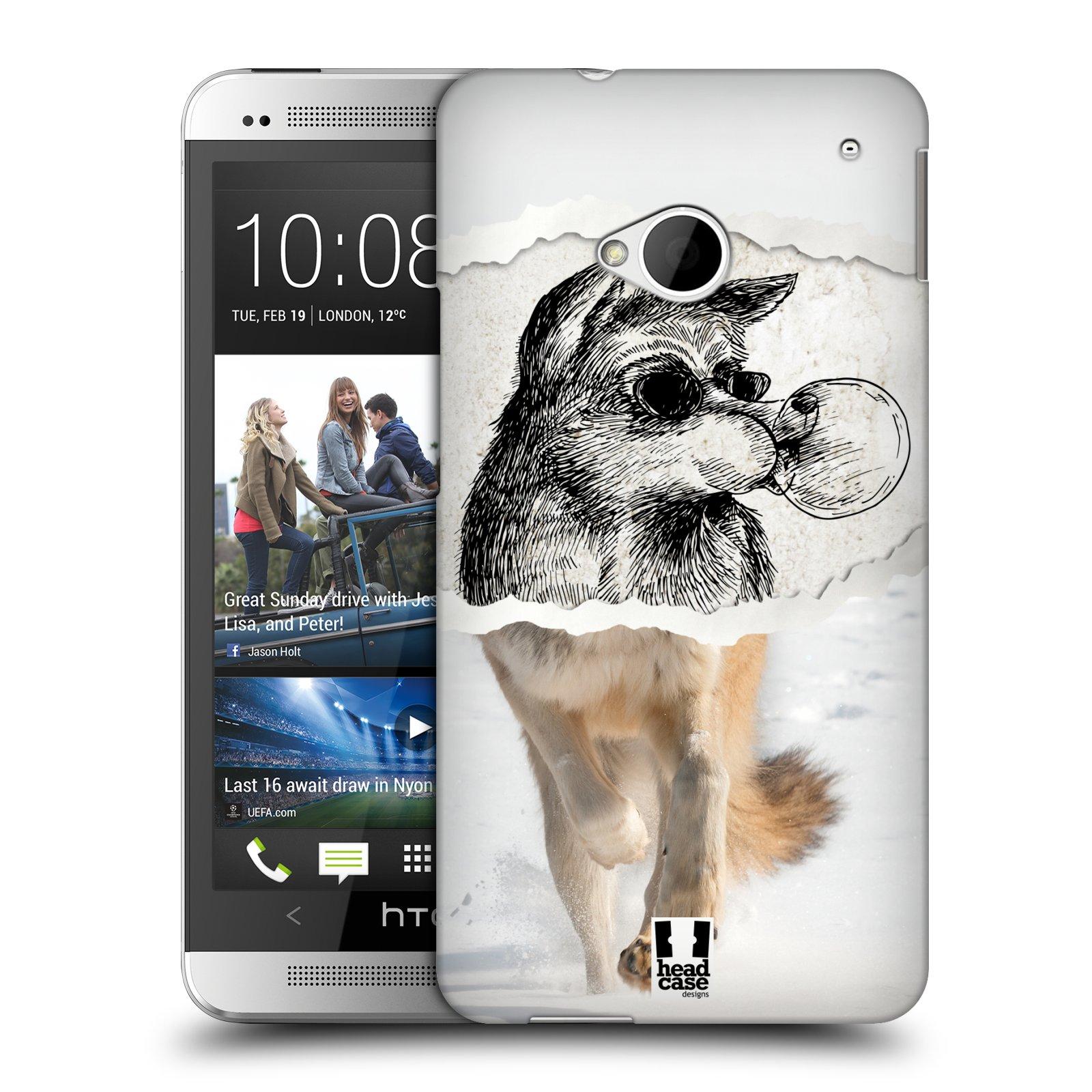 HEAD CASE plastový obal na mobil HTC One (M7) vzor zvířata koláž vlk pohodář