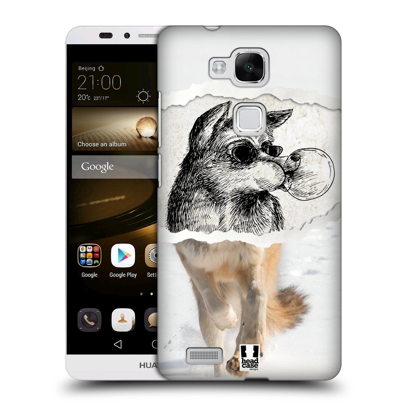 HEAD CASE plastový obal na mobil Huawei Mate 7 vzor zvířata koláž vlk pohodář