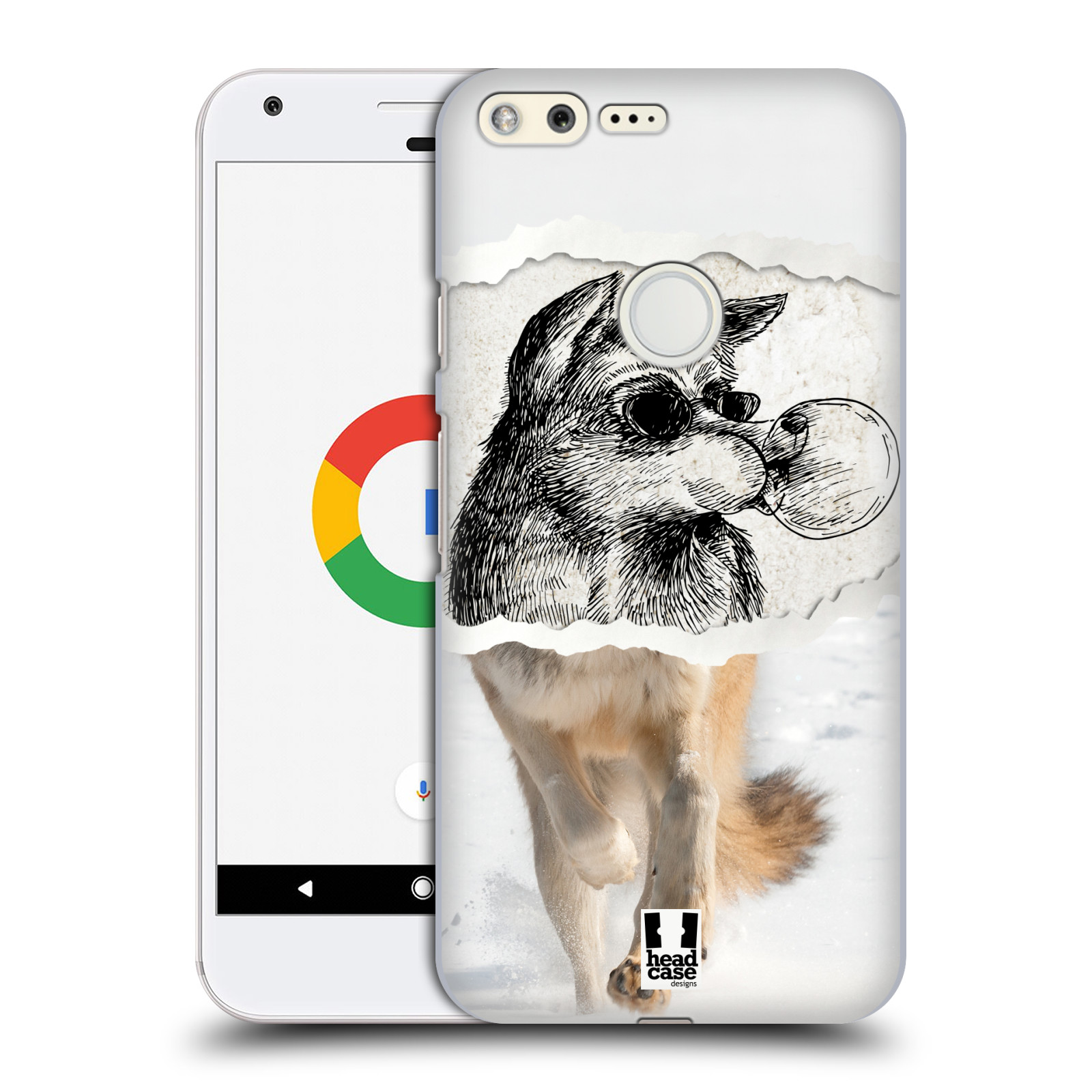 HEAD CASE plastový obal na mobil GOOGLE Pixel vzor zvířata koláž vlk pohodář
