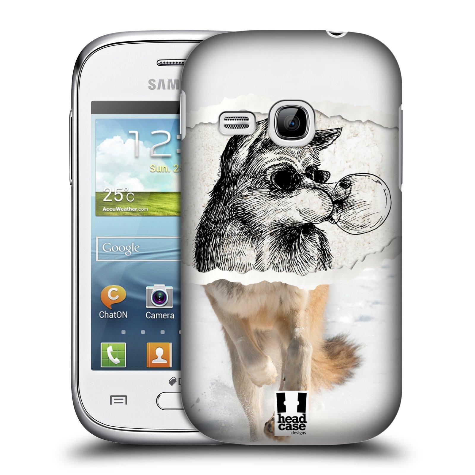 HEAD CASE plastový obal na mobil SAMSUNG Galaxy Young S6310 vzor zvířata koláž vlk pohodář