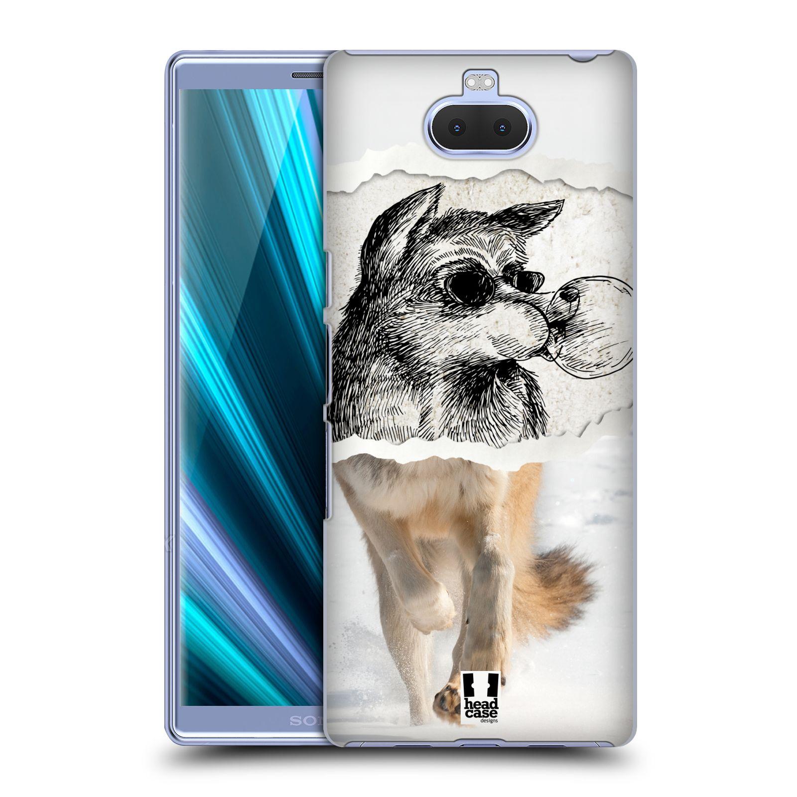 Pouzdro na mobil Sony Xperia 10 - Head Case - vzor zvířata koláž vlk pohodář
