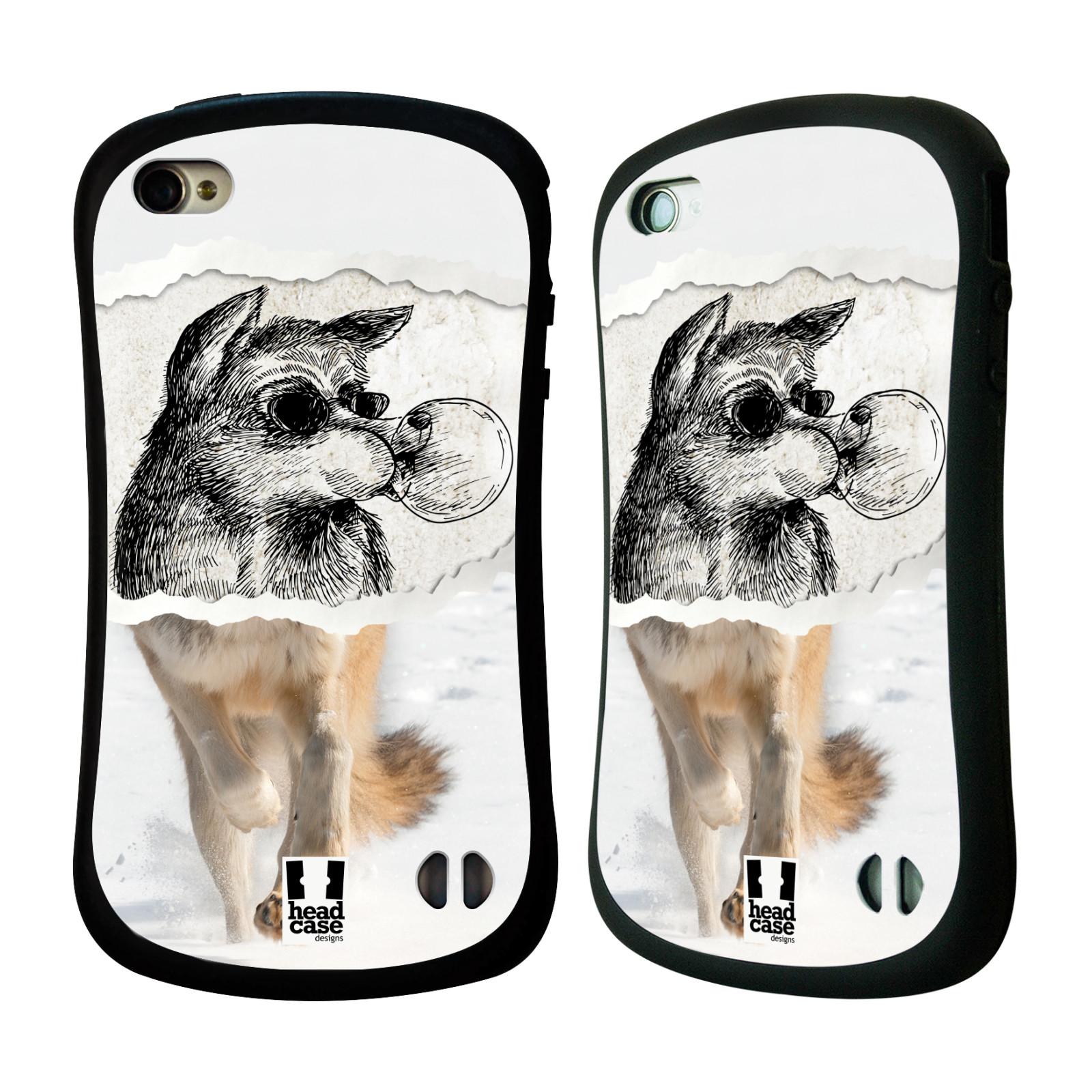 HEAD CASE silikon/plast odolný obal na mobil Apple Iphone 4/4S vzor zvířata koláž vlk pohodář