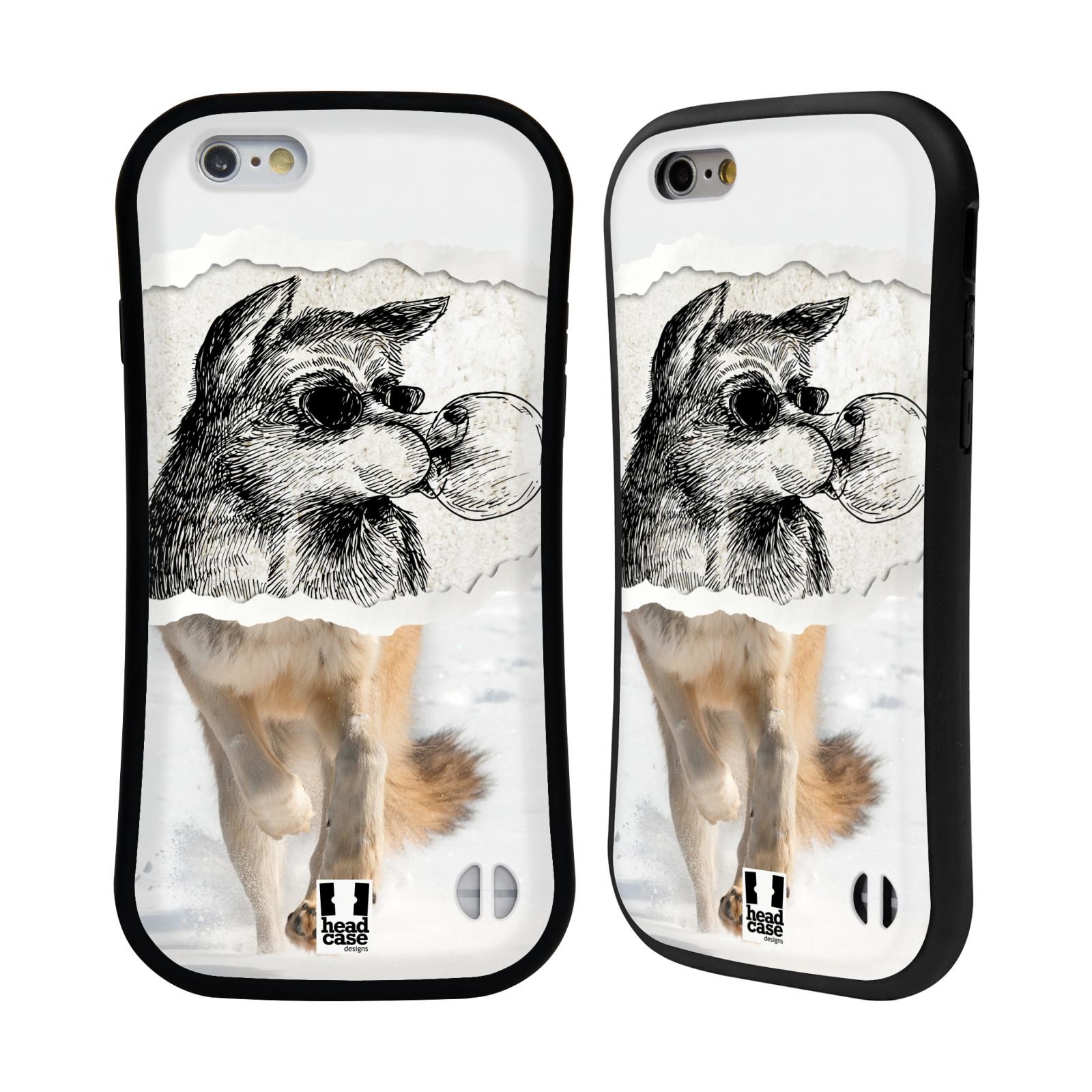 HEAD CASE silikon/plast odolný obal na mobil Apple Iphone 6/6S vzor zvířata koláž vlk pohodář