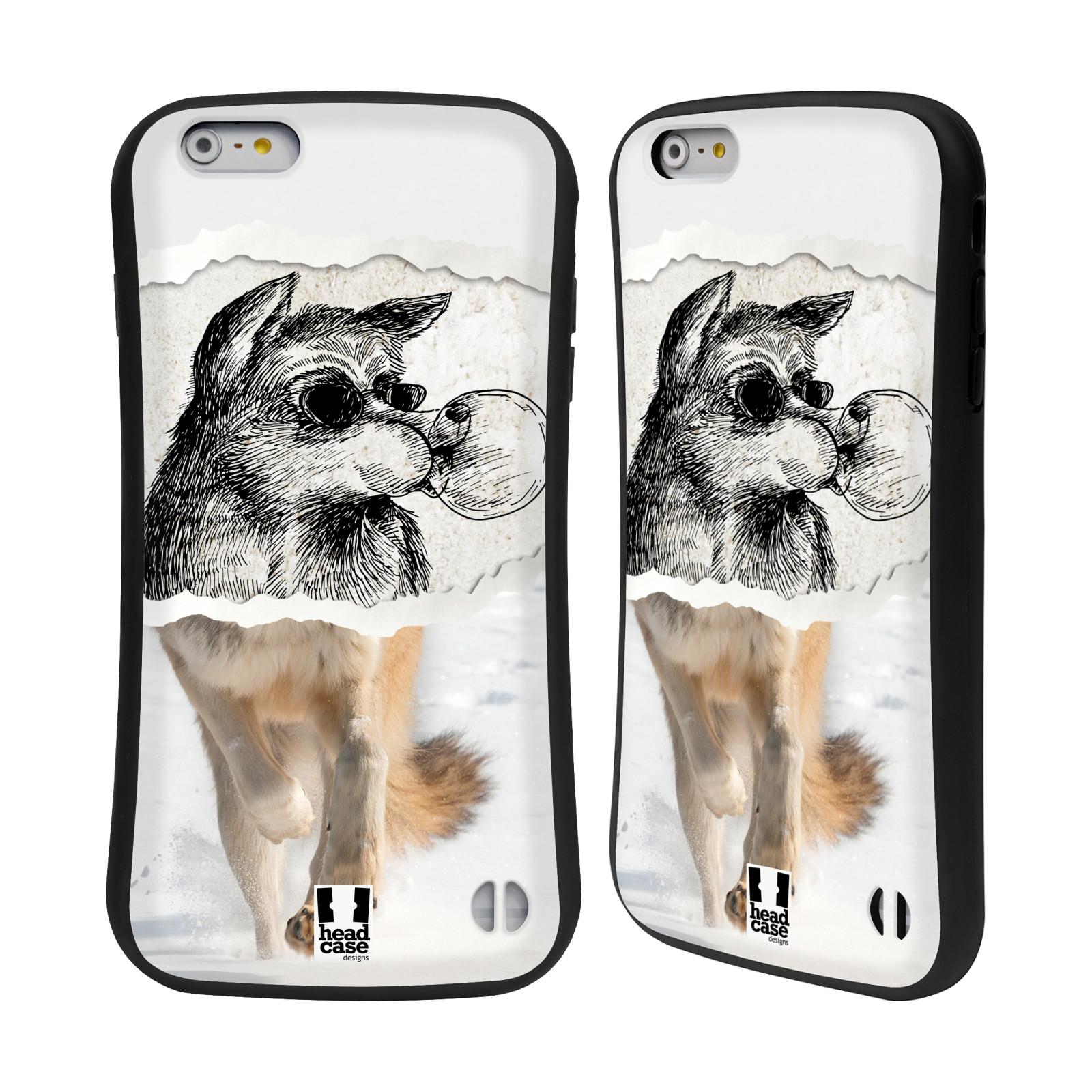 HEAD CASE silikon/plast odolný obal na mobil Apple Iphone 6 PLUS / 6S PLUS vzor zvířata koláž vlk pohodář