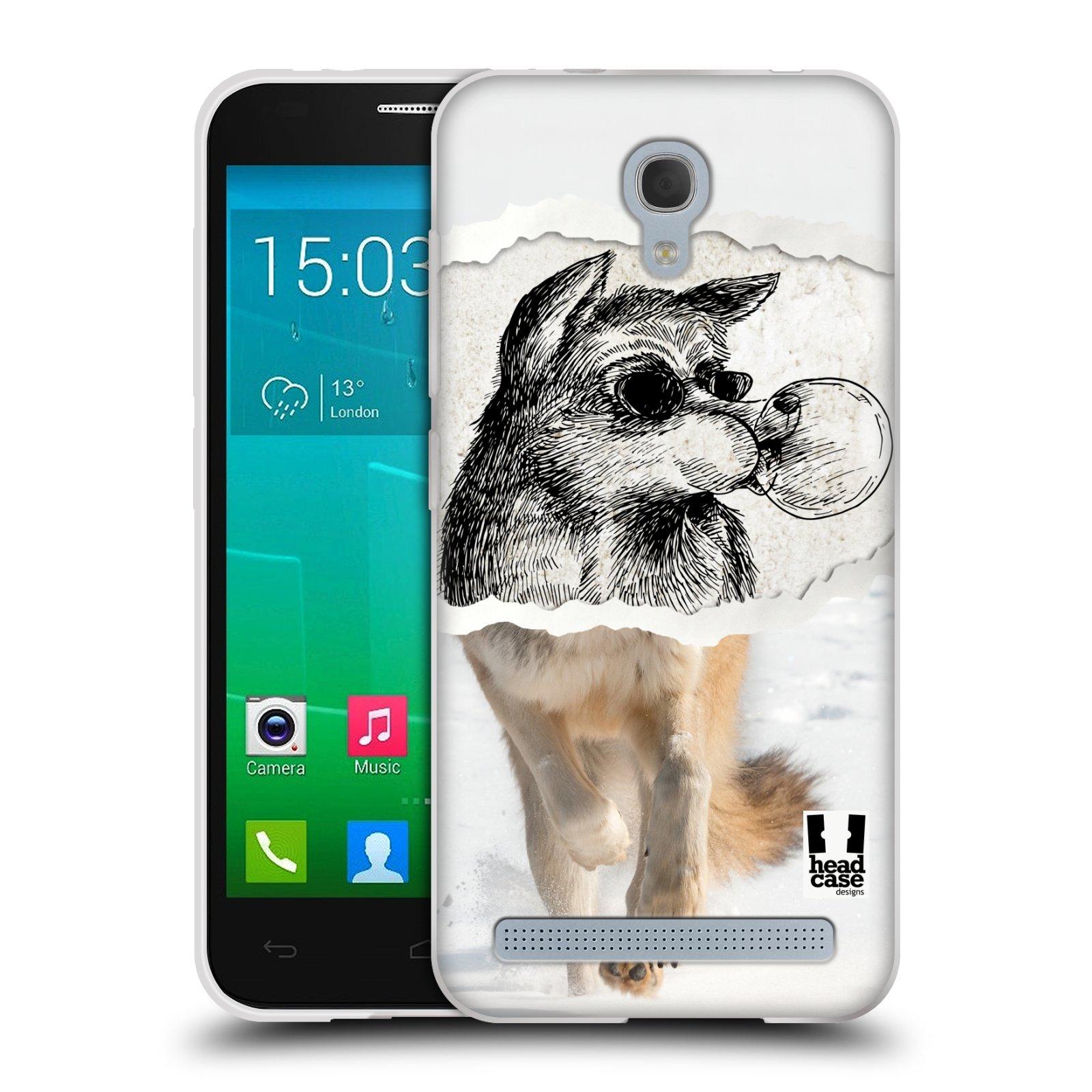 HEAD CASE silikonový obal na mobil Alcatel Idol 2 MINI S 6036Y vzor zvířata koláž vlk pohodář
