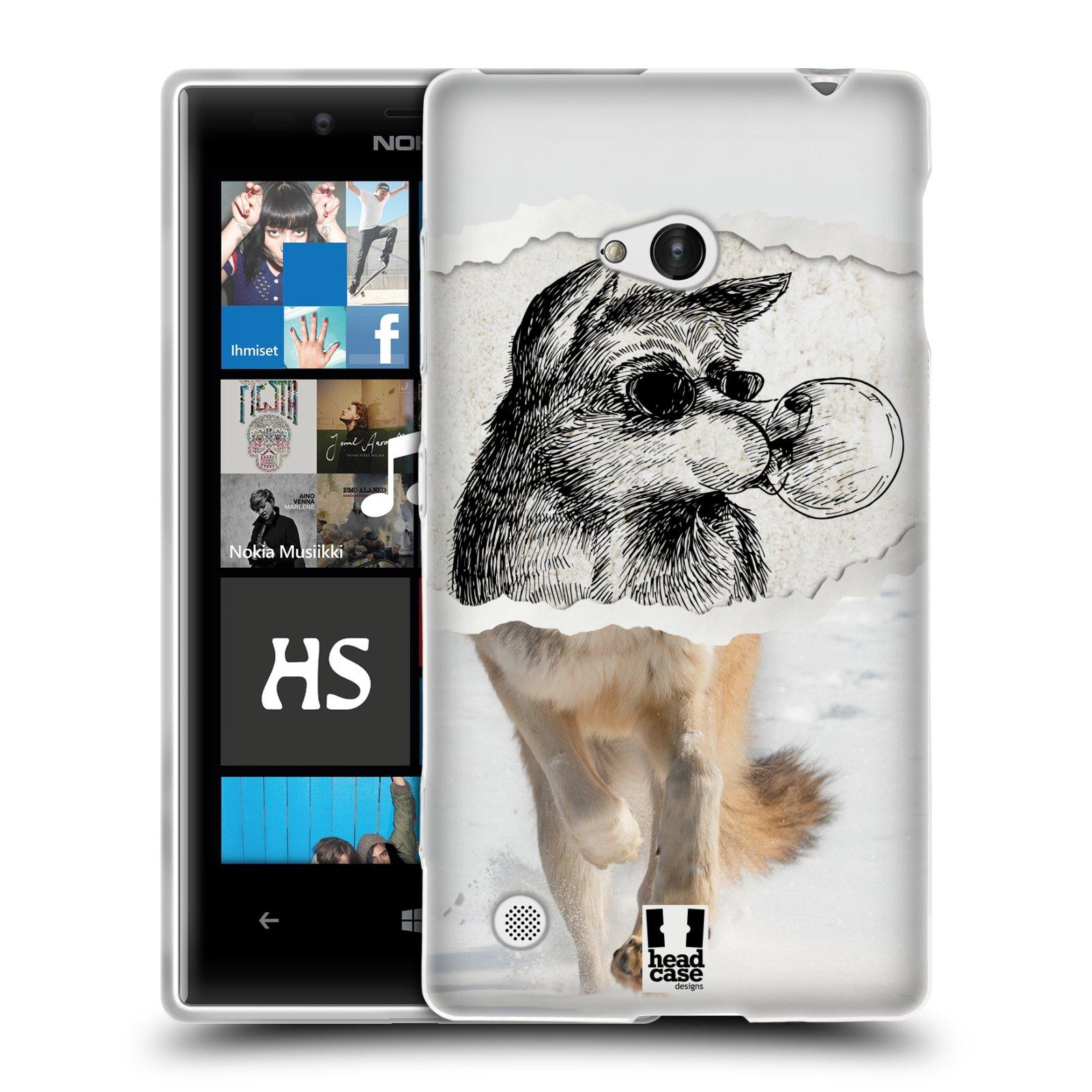 HEAD CASE silikonový obal na mobil NOKIA Lumia 720 vzor zvířata koláž vlk pohodář