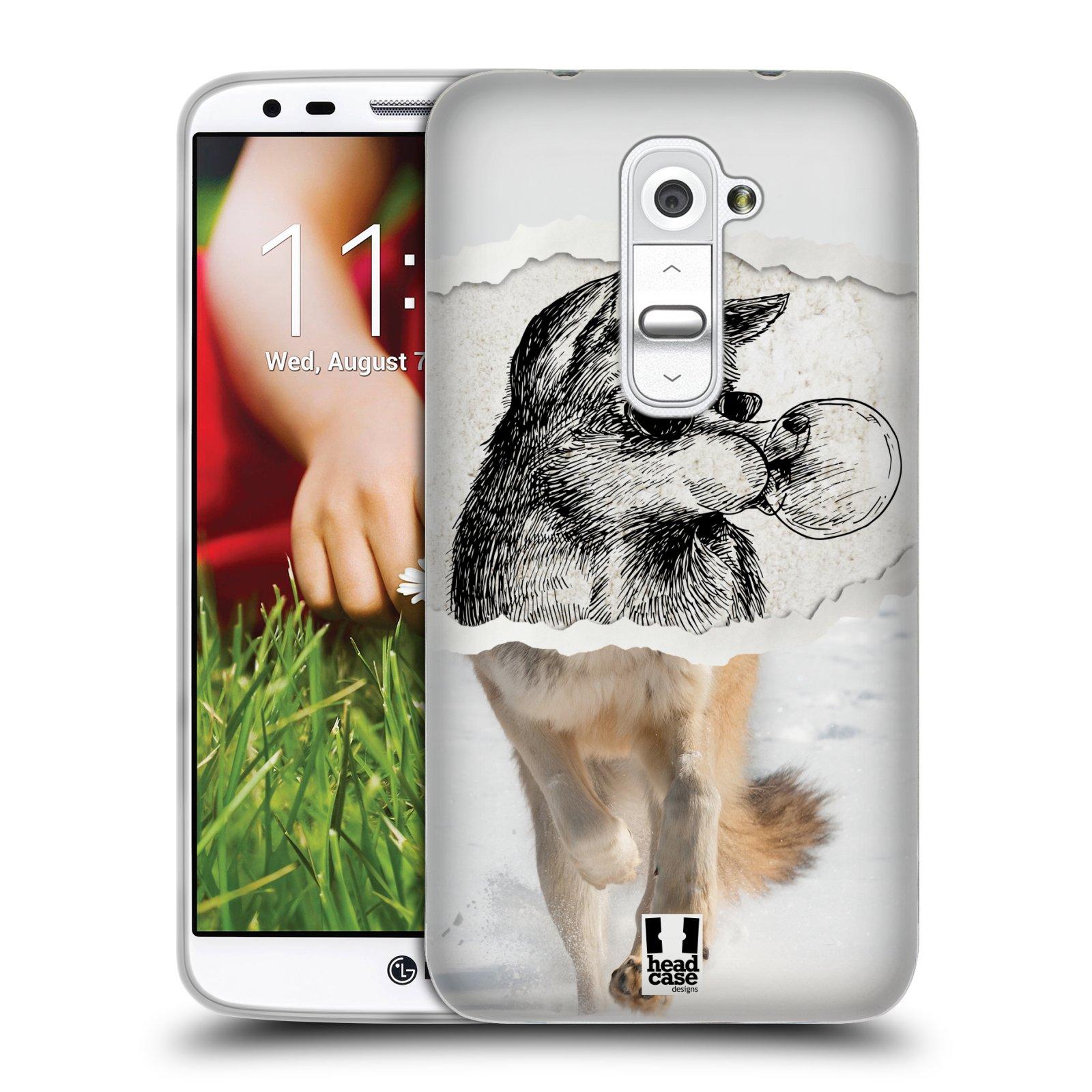 HEAD CASE silikonový obal na mobil LG G2 vzor zvířata koláž vlk pohodář