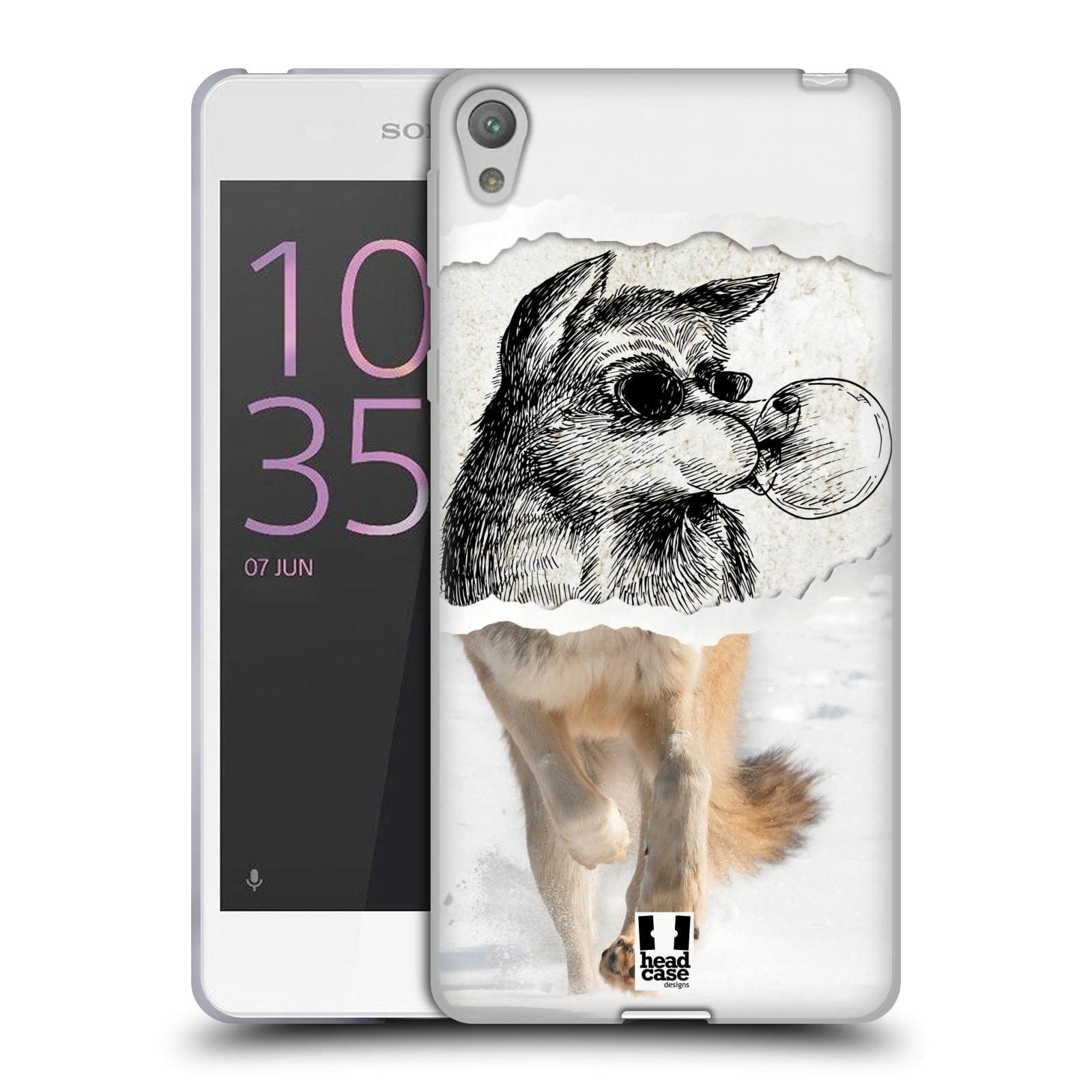 HEAD CASE silikonový obal na mobil SONY XPERIA E5 vzor zvířata koláž vlk pohodář