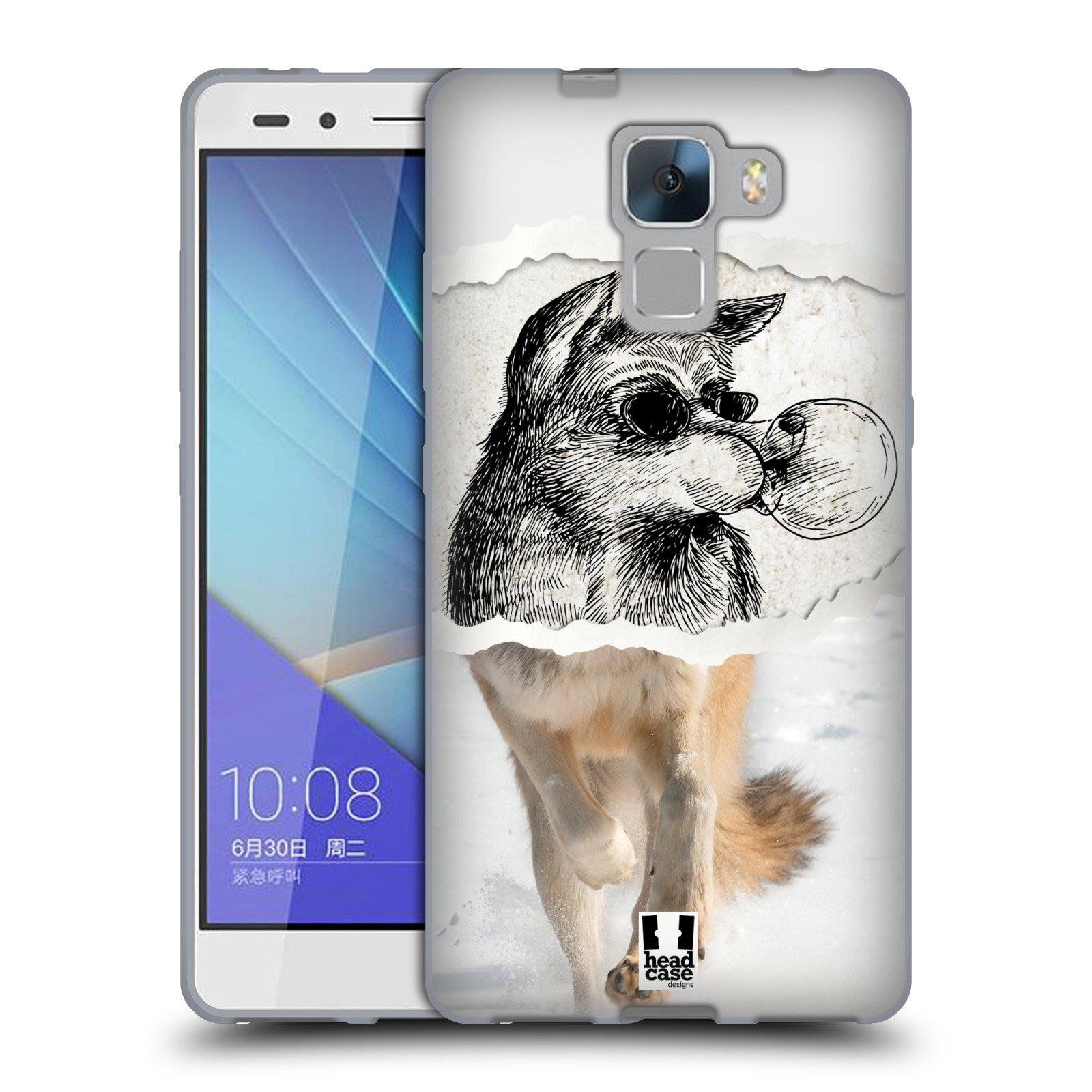 HEAD CASE silikonový obal na mobil HUAWEI HONOR 7 vzor zvířata koláž vlk pohodář