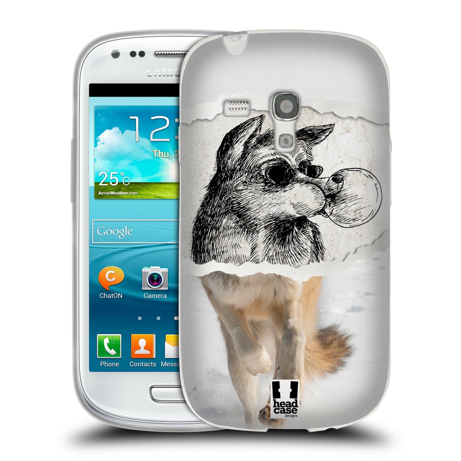HEAD CASE silikonový obal na mobil Samsung Galaxy S3 MINI i8190 vzor zvířata koláž vlk pohodář